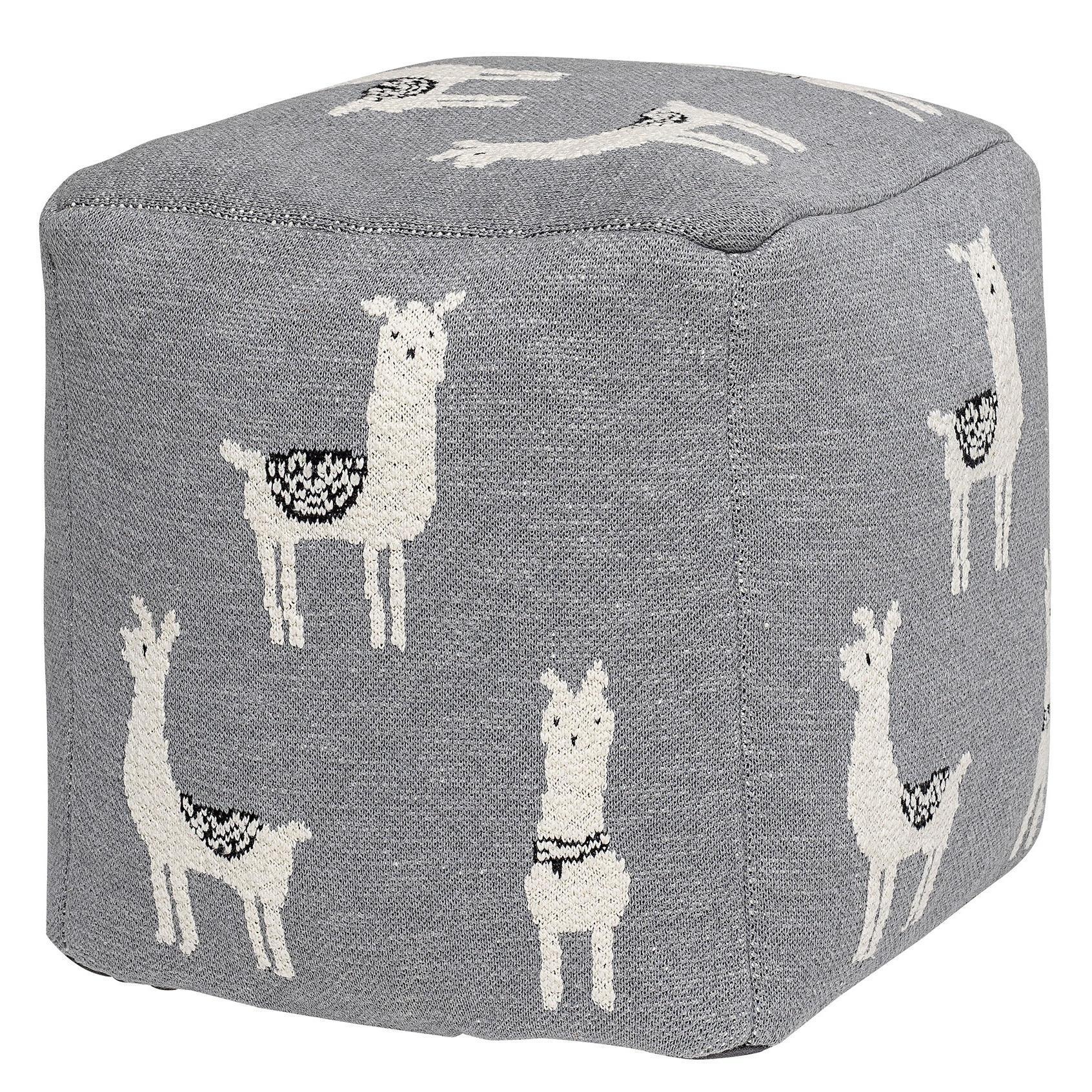 Bloomingville Dětský taburet Grey Llama, šedá barva, textil