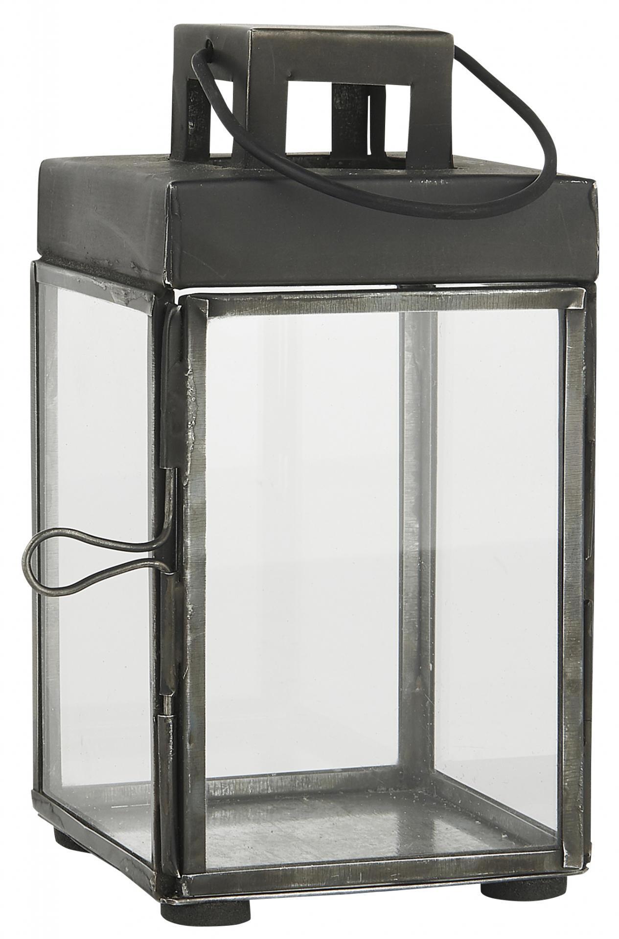 IB LAURSEN Kovová lucernička Lantern Square 15,5cm, černá barva, sklo, kov