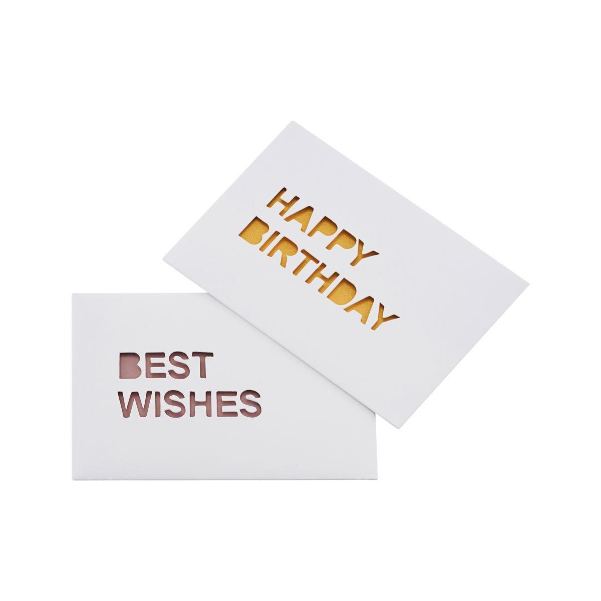 MONOGRAPH Narozeninové přání Wishes - set 2ks, bílá barva, papír