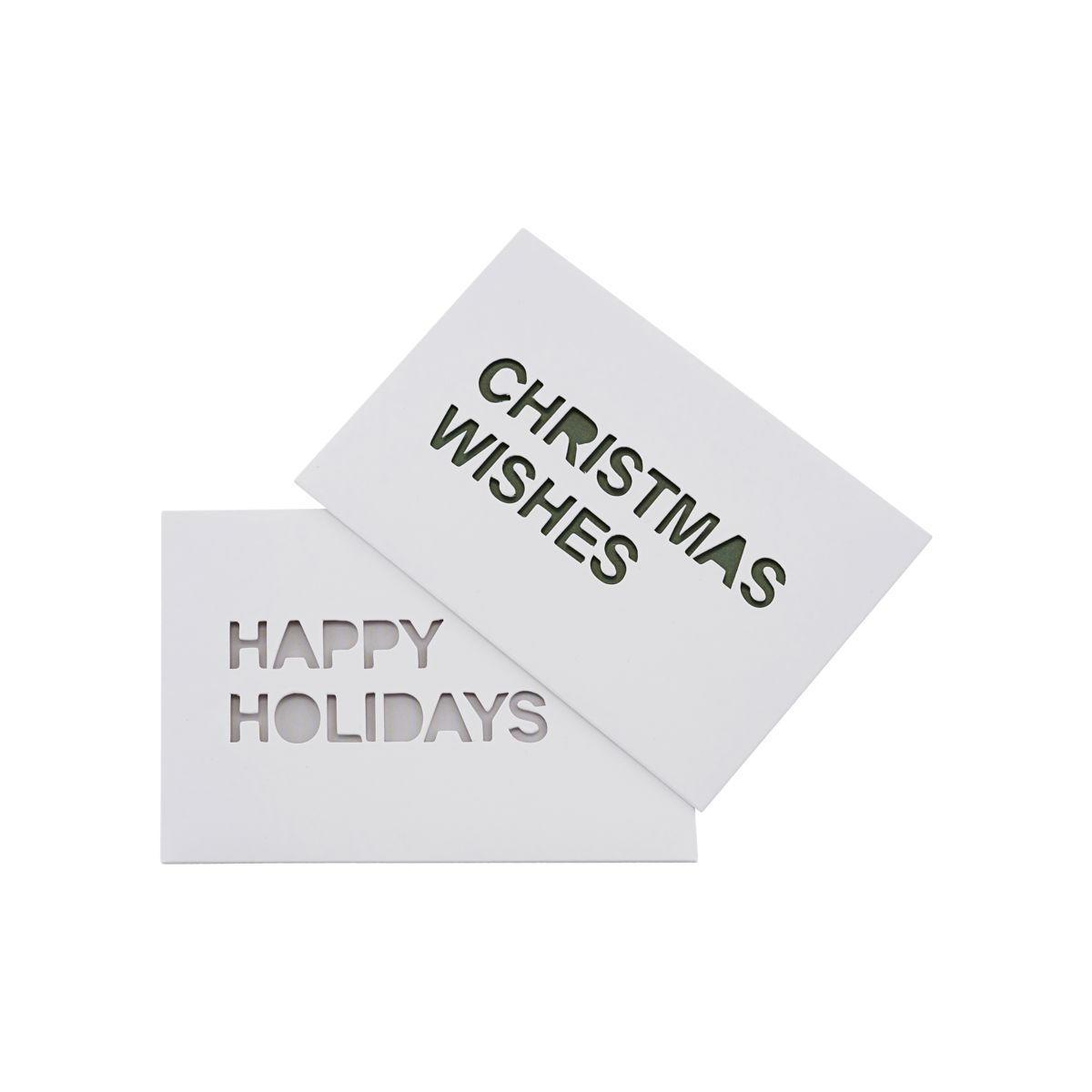 MONOGRAPH Vánoční přání X-mas - set 2ks, bílá barva, papír