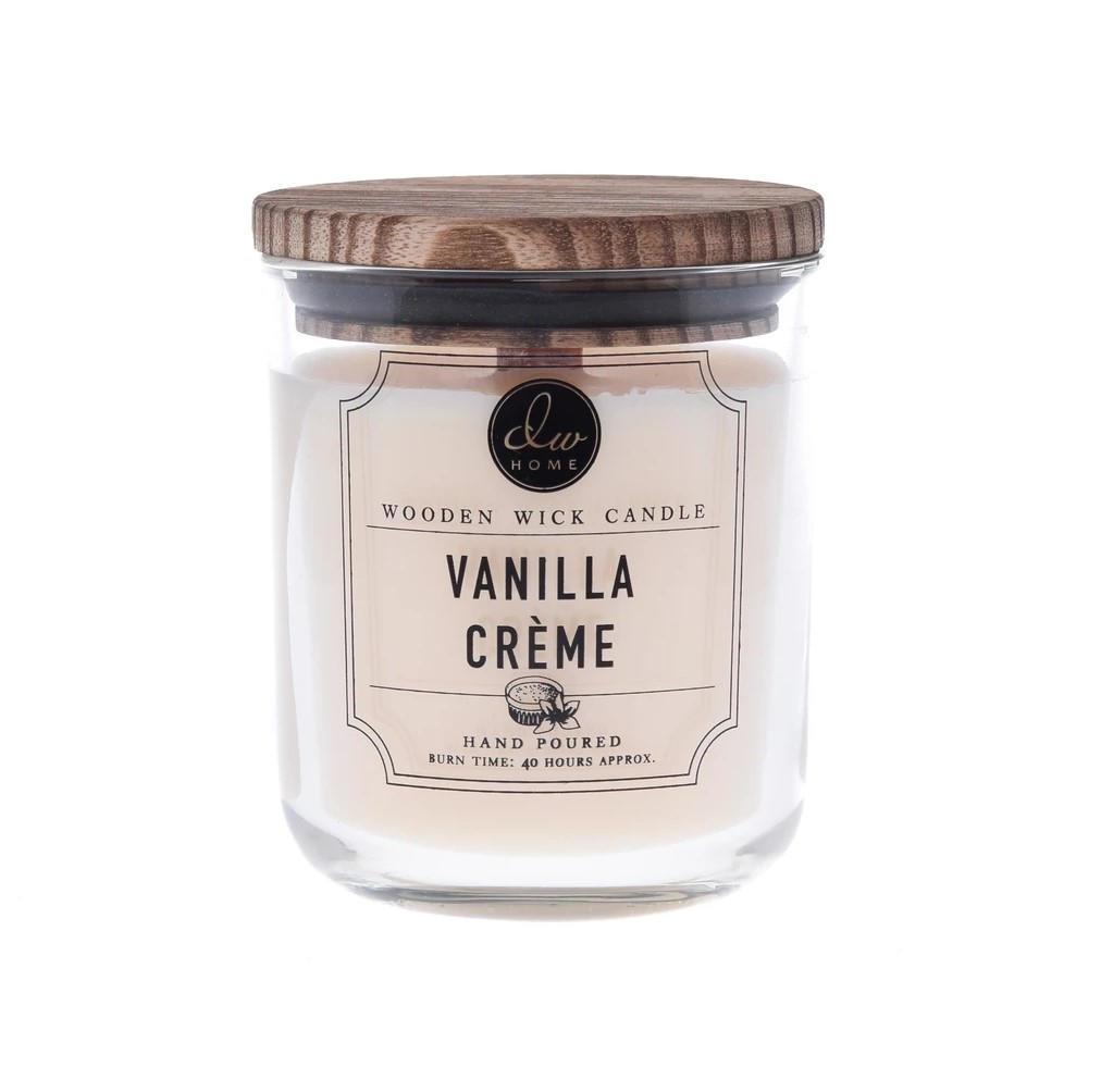 dw HOME Svíčka DW Home - Vanilla Créme 320g, žlutá barva, hnědá barva, čirá barva, sklo, dřevo, vosk