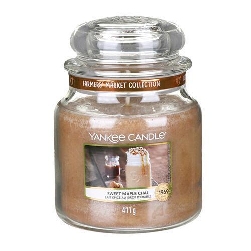 Yankee Candle Svíčka Yankee Candle 411g - Sweet Maple Chai, béžová barva, hnědá barva, sklo, vosk