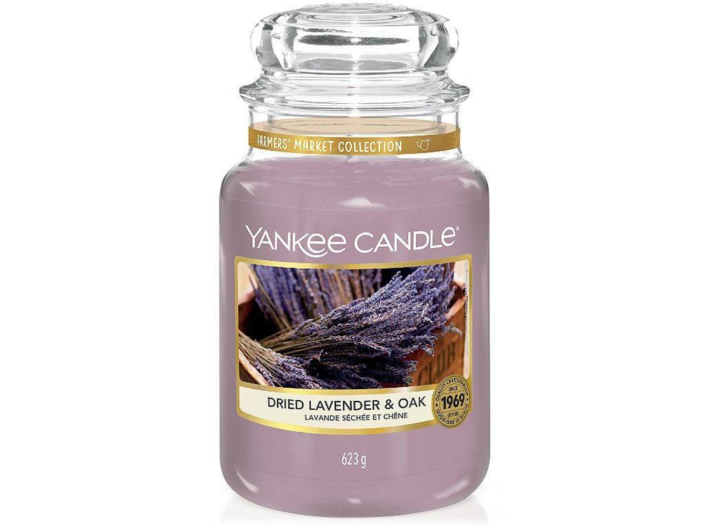 Yankee Candle Svíčka Yankee Candle 623g - Dried Lavender & Oak, fialová barva, sklo, vosk