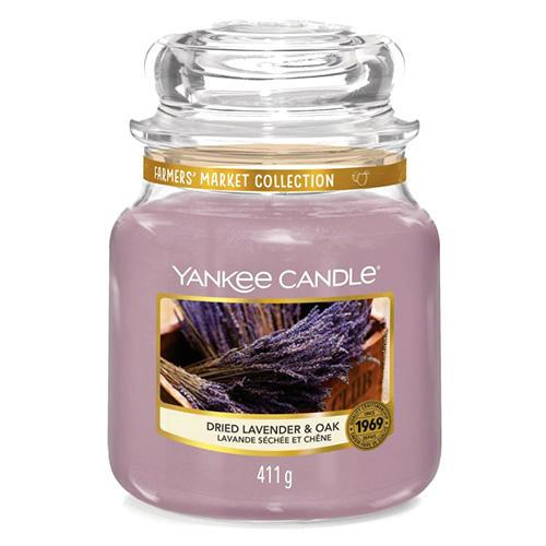 Yankee Candle Svíčka Yankee Candle 411gr - Dried Lavender & Oak, fialová barva, sklo, vosk
