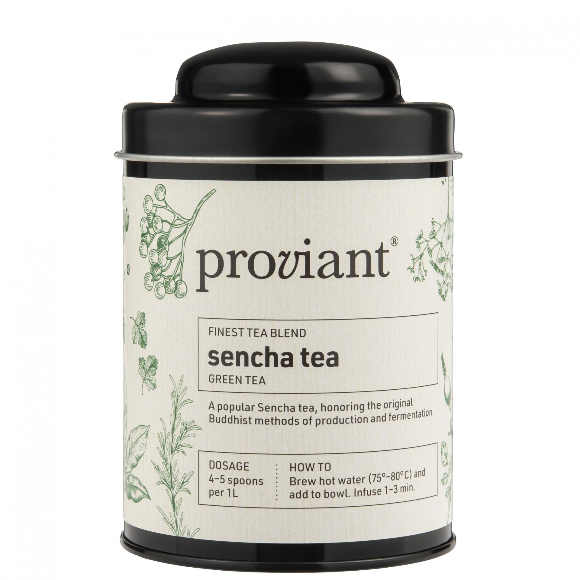 Proviant Zelený čaj Sencha v dóze 100 g, zelená barva, černá barva, kov