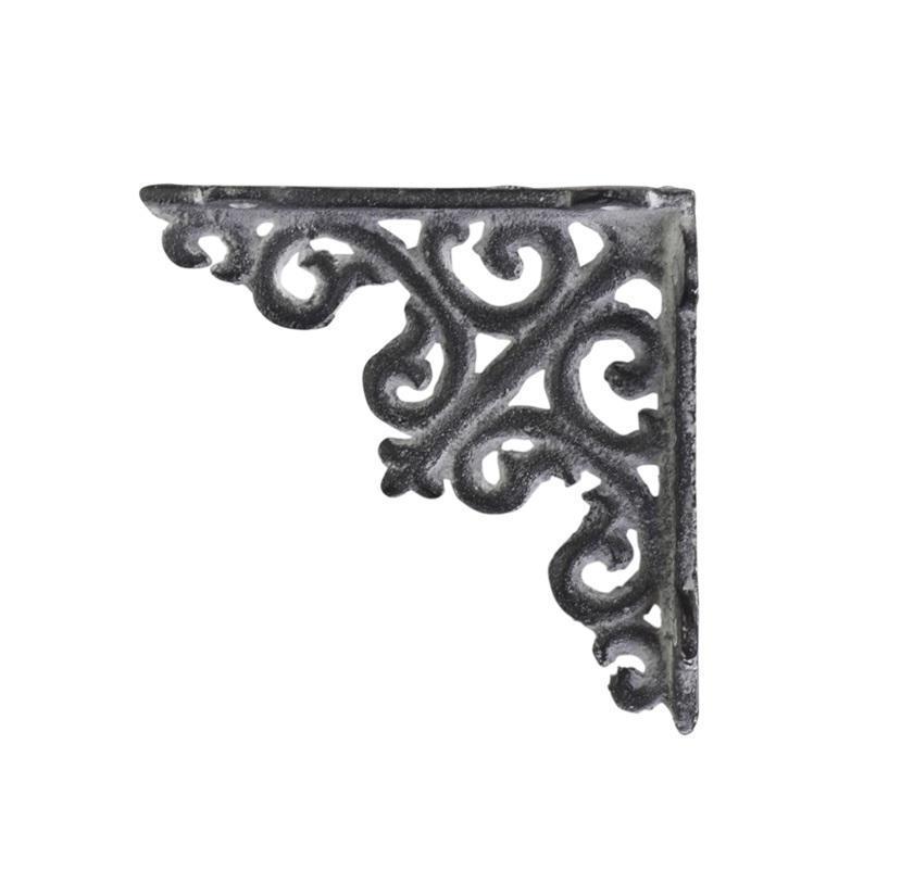 Chic Antique Kovová konzole Antique Grey 10cm, šedá barva, kov