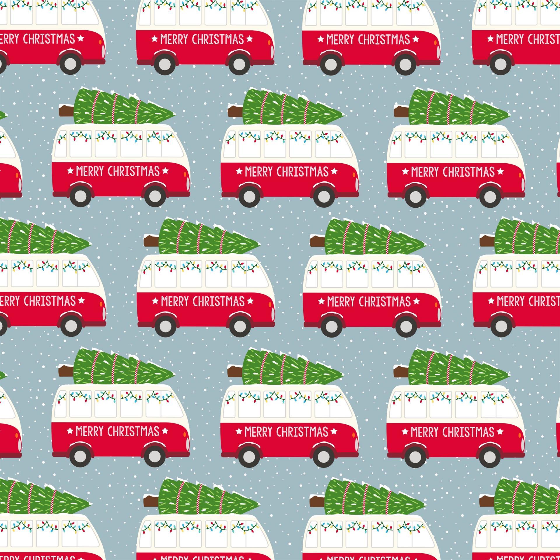 sass & belle Vánoční balicí papír Camper Van, červená barva, zelená barva, papír