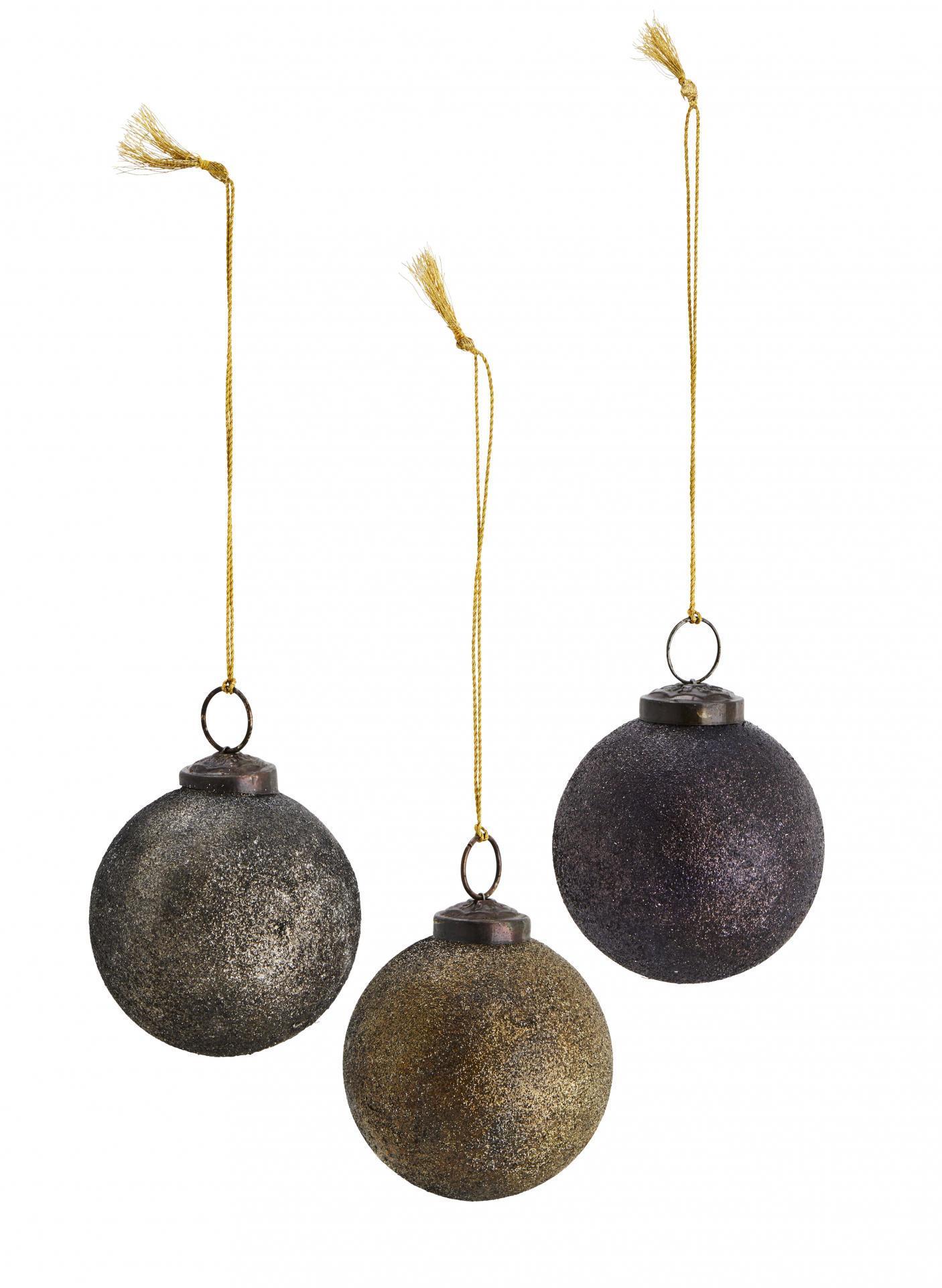 MADAM STOLTZ Vánoční baňky Glitter 7 cm - set 3 ks, fialová barva, zlatá barva, stříbrná barva, sklo