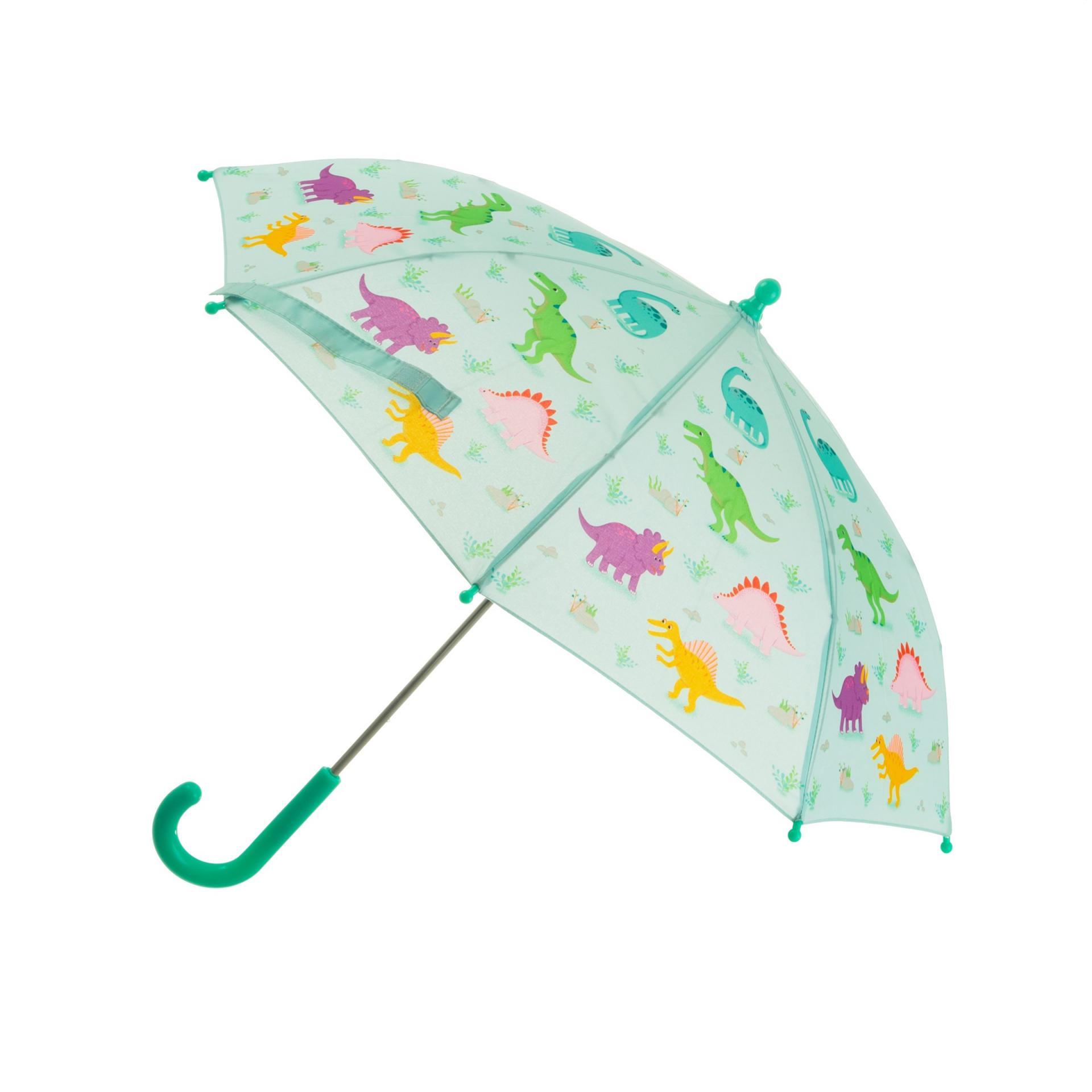 sass & belle Dětský deštník Dinosaurs, zelená barva, multi barva, kov, plast