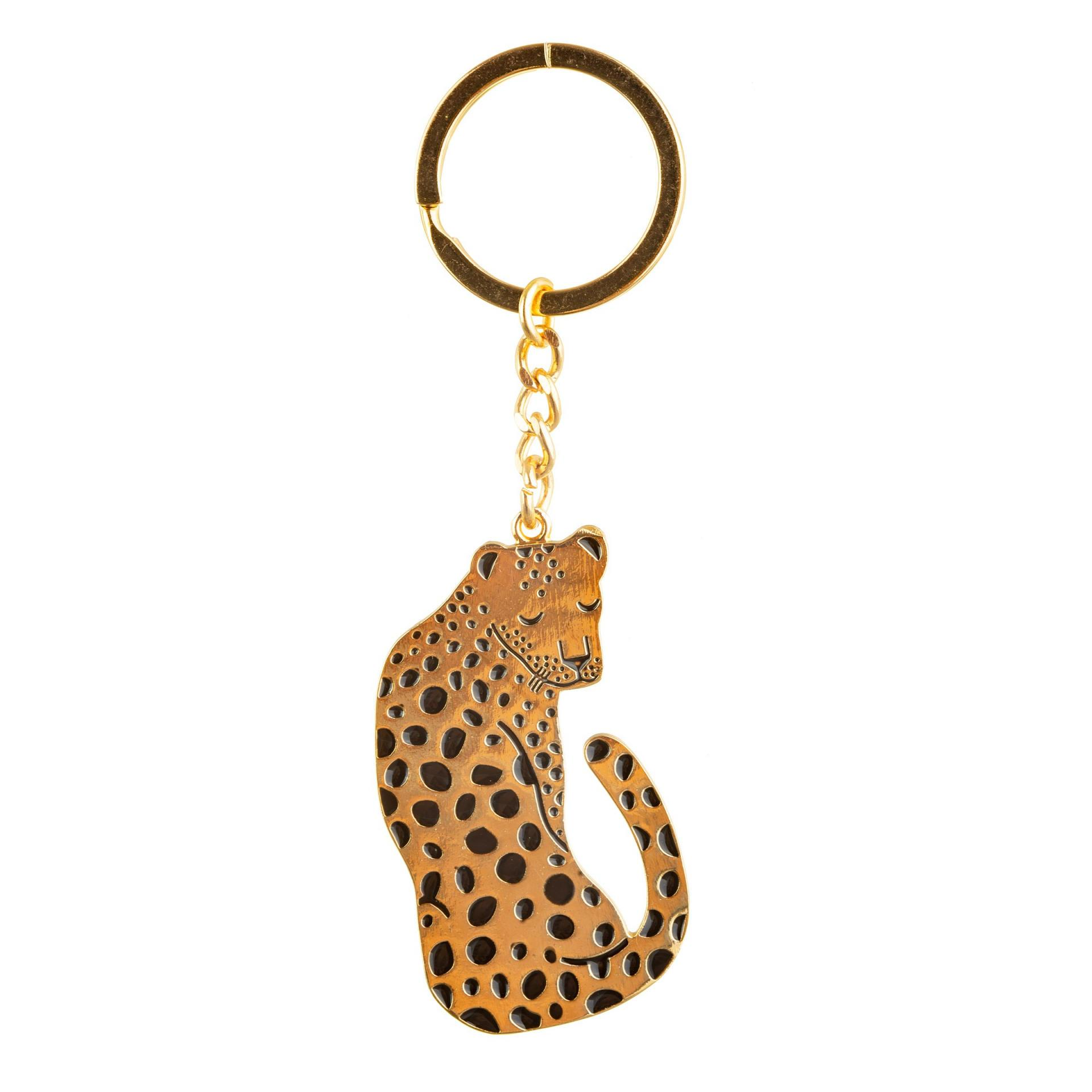 sass & belle Přívěsek na klíče Leopard, černá barva, zlatá barva, kov