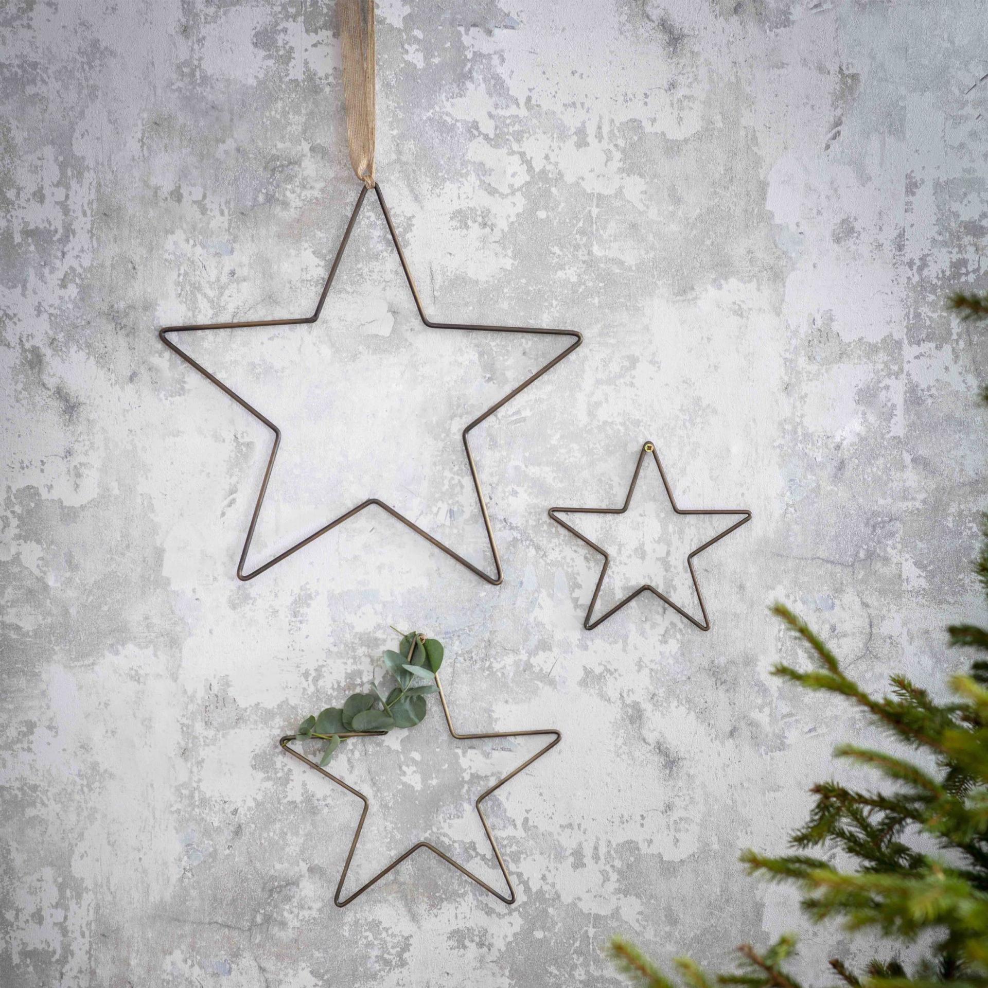 Garden Trading Dekorativní hvězdy Cromwell Brass - set 3 ks, šedá barva, kov