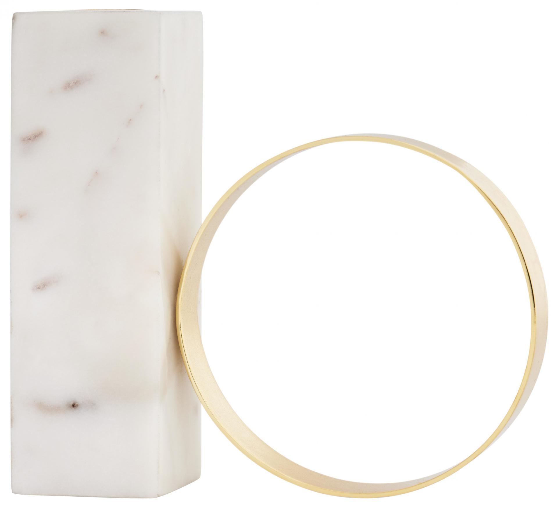OYOY Designový svícen White Marble & Brass, béžová barva, bílá barva, zlatá barva, kov, mramor
