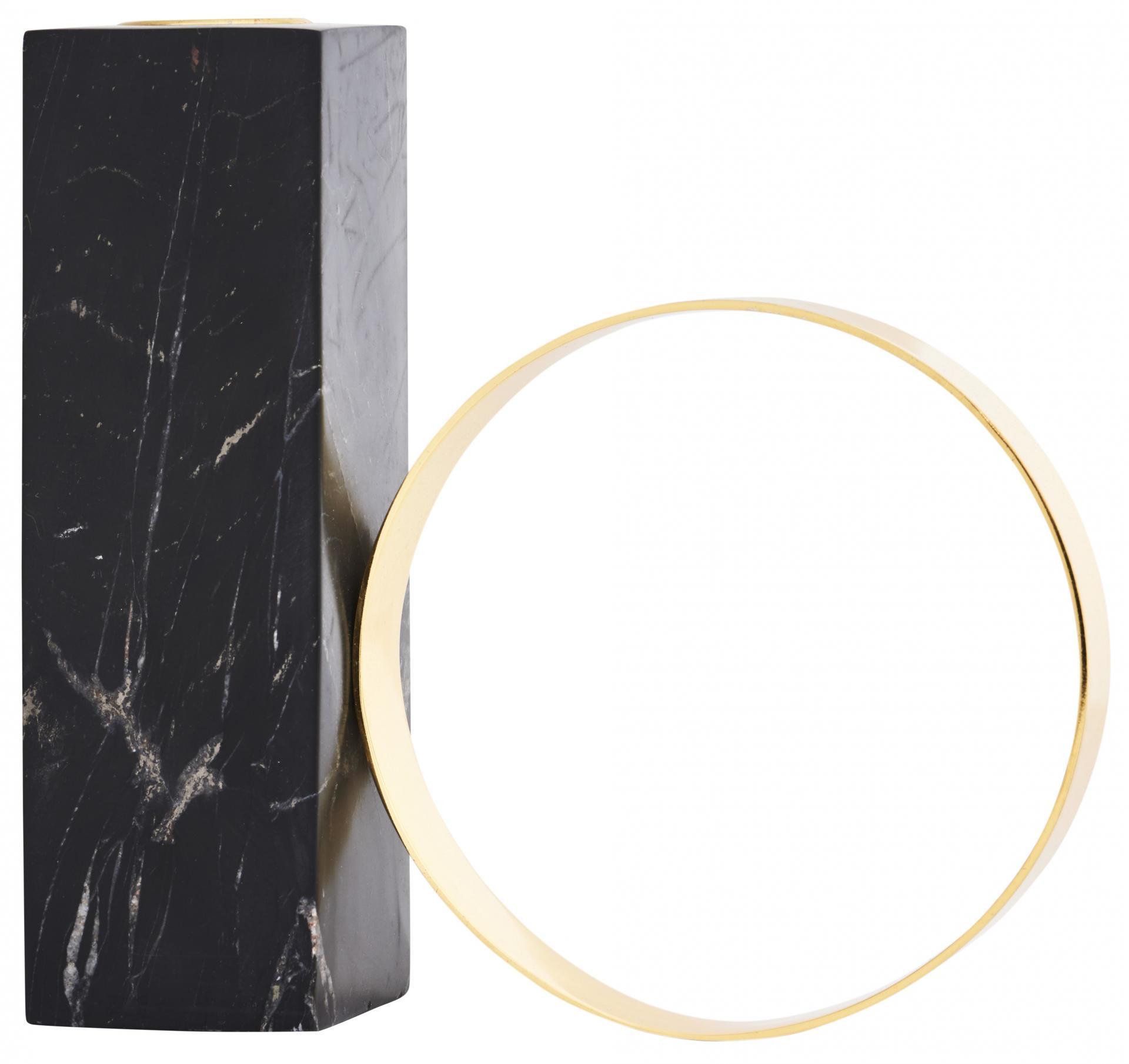 OYOY Designový svícen Black Marble & Brass, černá barva, zlatá barva, kov, mramor