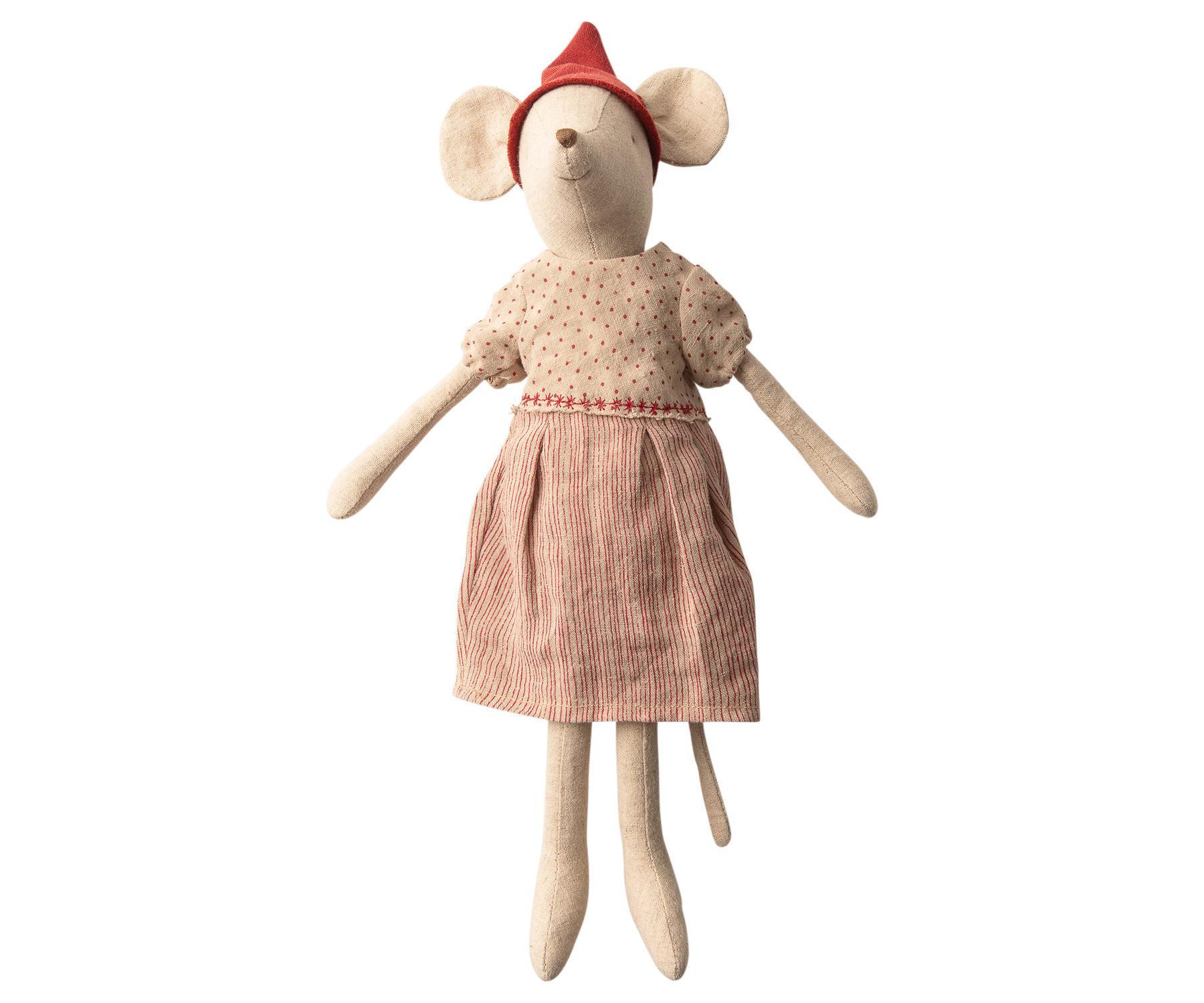 Maileg Vánoční myška v oblečku Medium Girl, béžová barva, textil