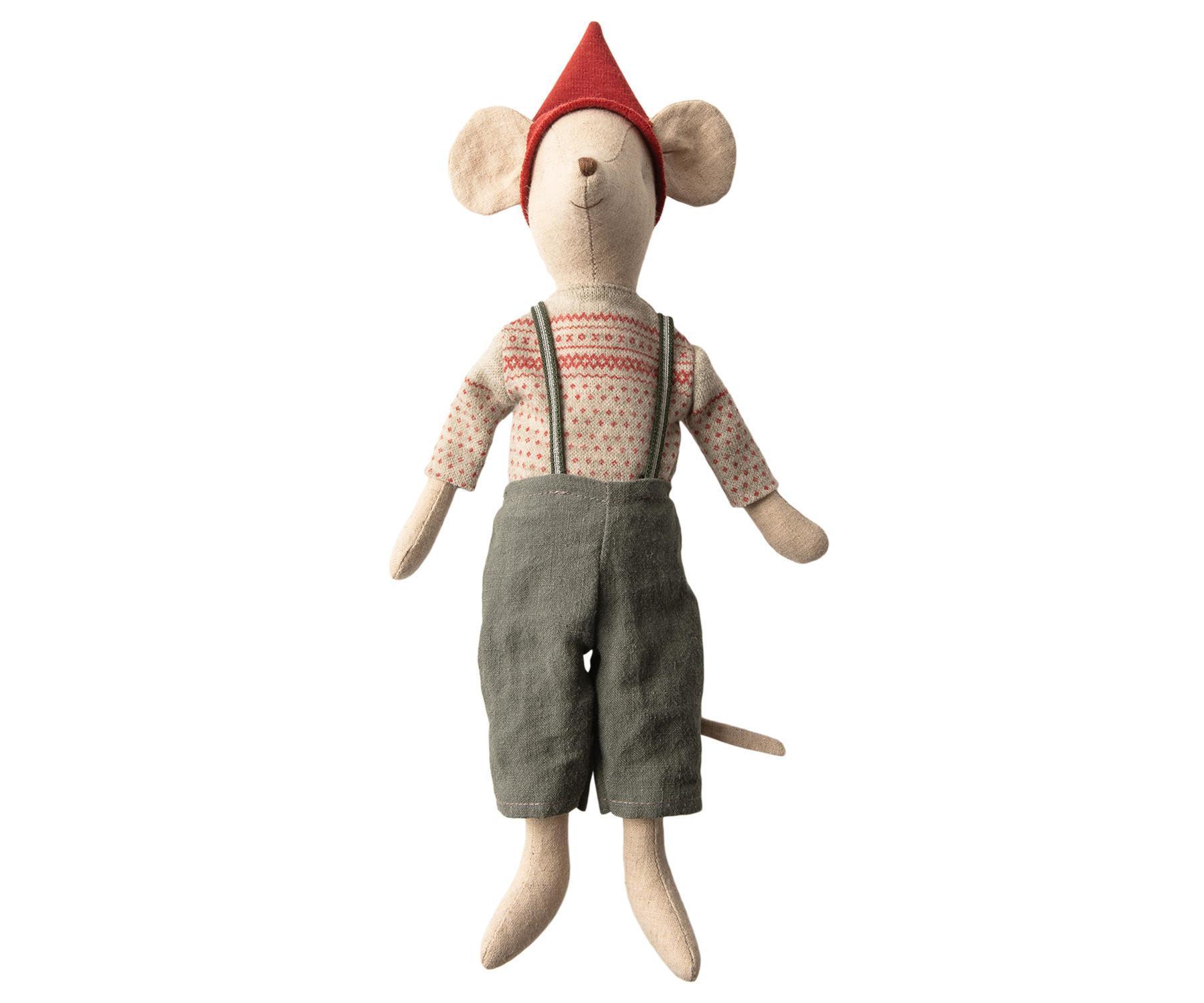 Maileg Vánoční myšák v oblečku Medium Boy, béžová barva, textil