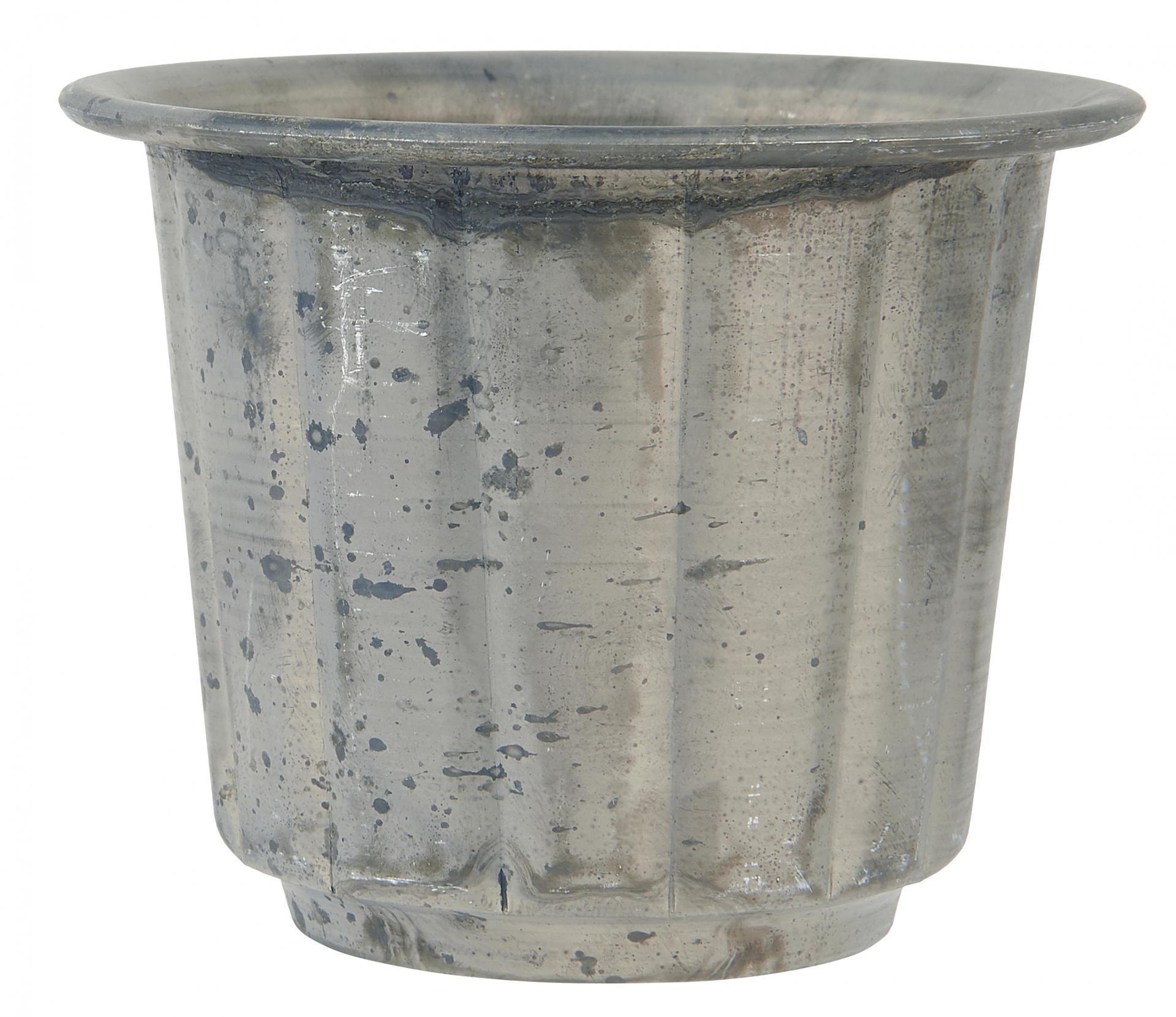 IB LAURSEN Kovový mini obal na květináč Mini Grooved, šedá barva, kov
