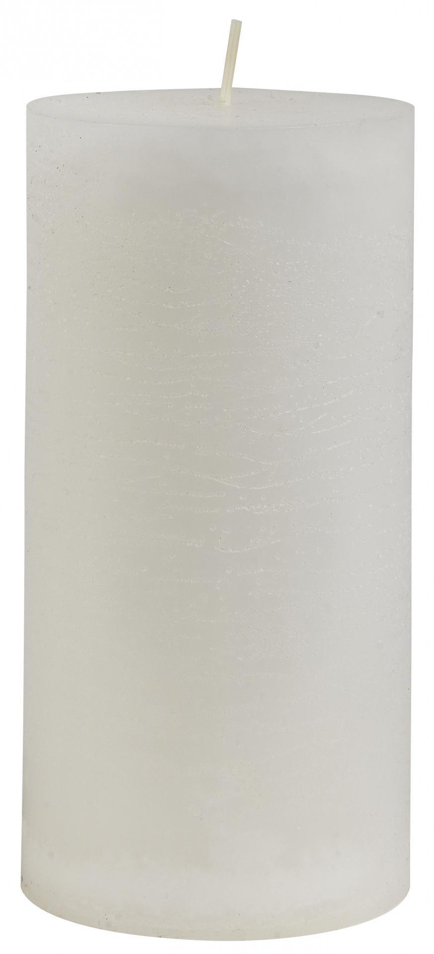 IB LAURSEN Kulatá svíčka Rustic White 14 cm, bílá barva, vosk