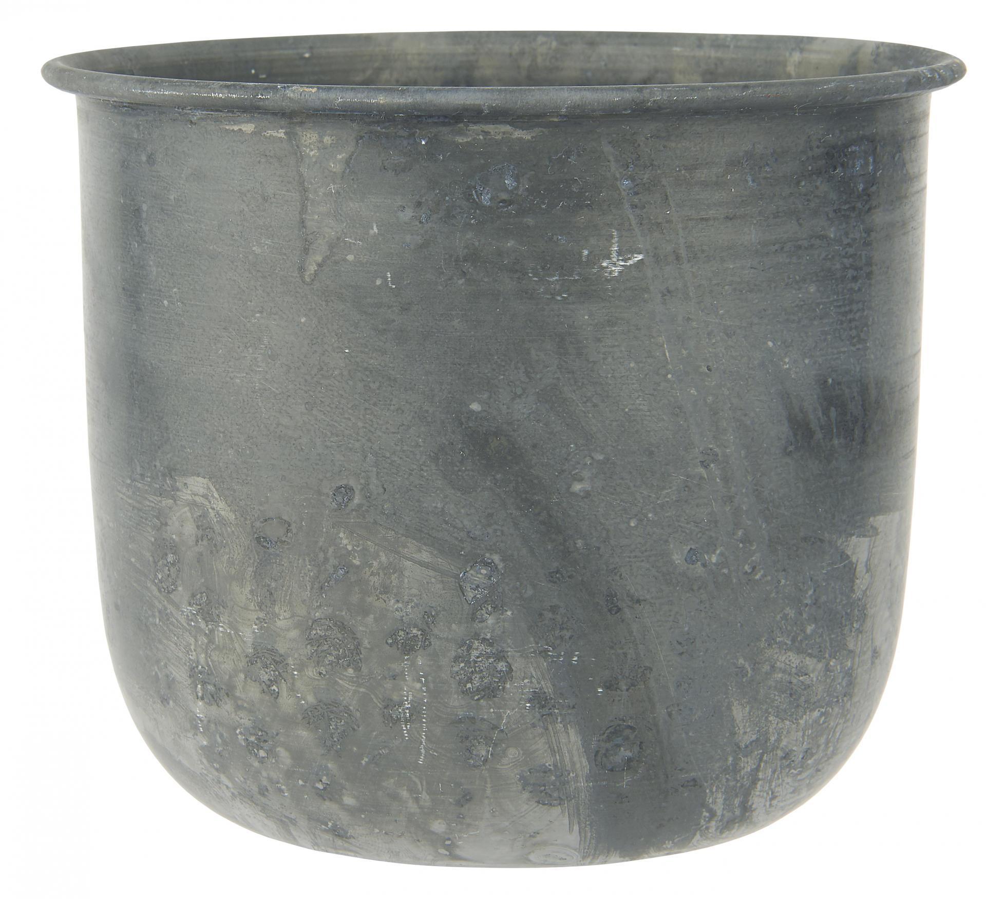 IB LAURSEN Kovový obal na květináček Zinc Pot, šedá barva, zinek