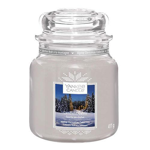 Yankee Candle Svíčka Yankee Candle 411g - Candlelit Cabin, šedá barva, sklo