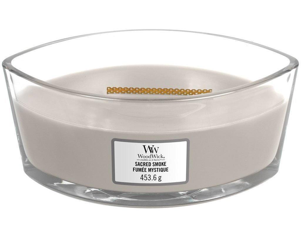 WoodWick Vonná svíčka WoodWick - Sacred Smoke 454g, šedá barva, sklo, dřevo