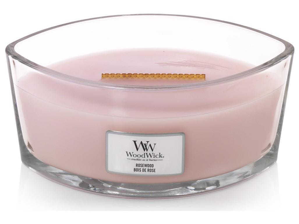 WoodWick Vonná svíčka WoodWick - Rosewood 454g, růžová barva, hnědá barva, sklo, dřevo