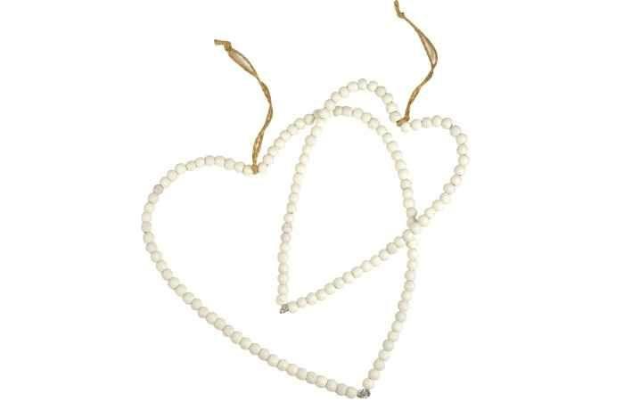 Ib laursen / závěsné srdce z korálků - bílé, větší