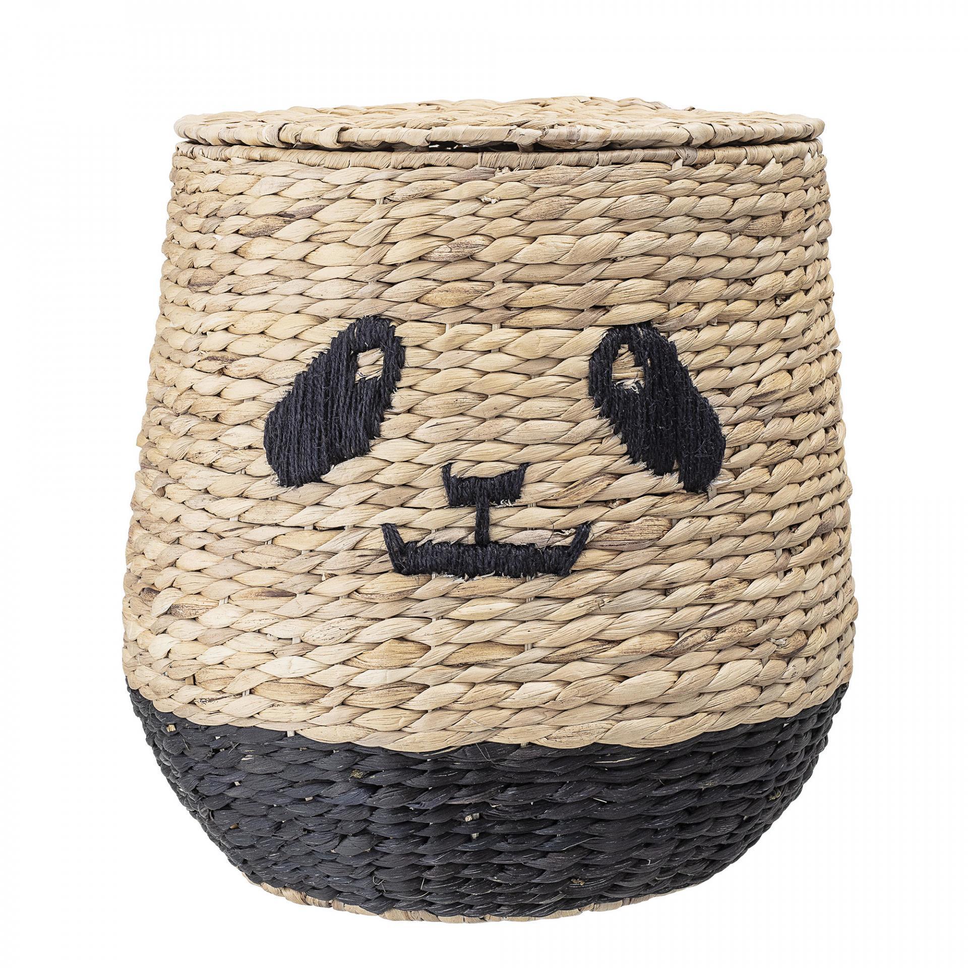Bloomingville Slaměný koš s víkem Panda, černá barva, přírodní barva, proutí