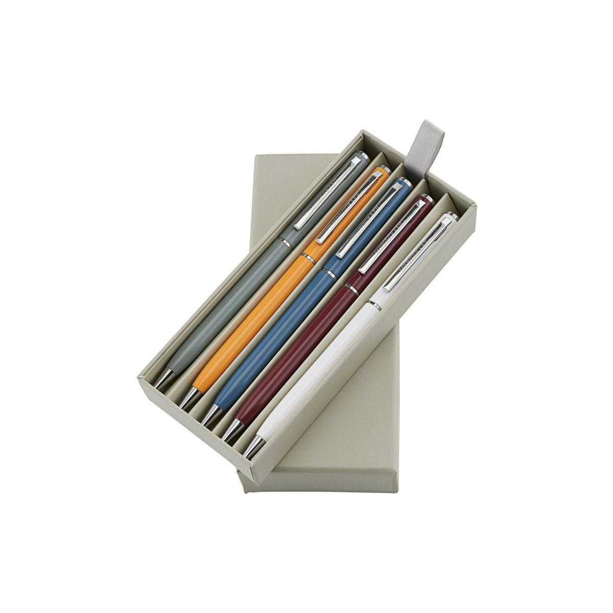 MONOGRAPH Set propisek Black Ink - 5 ks, oranžová barva, šedá barva, bílá barva, hnědá barva, kov, plast