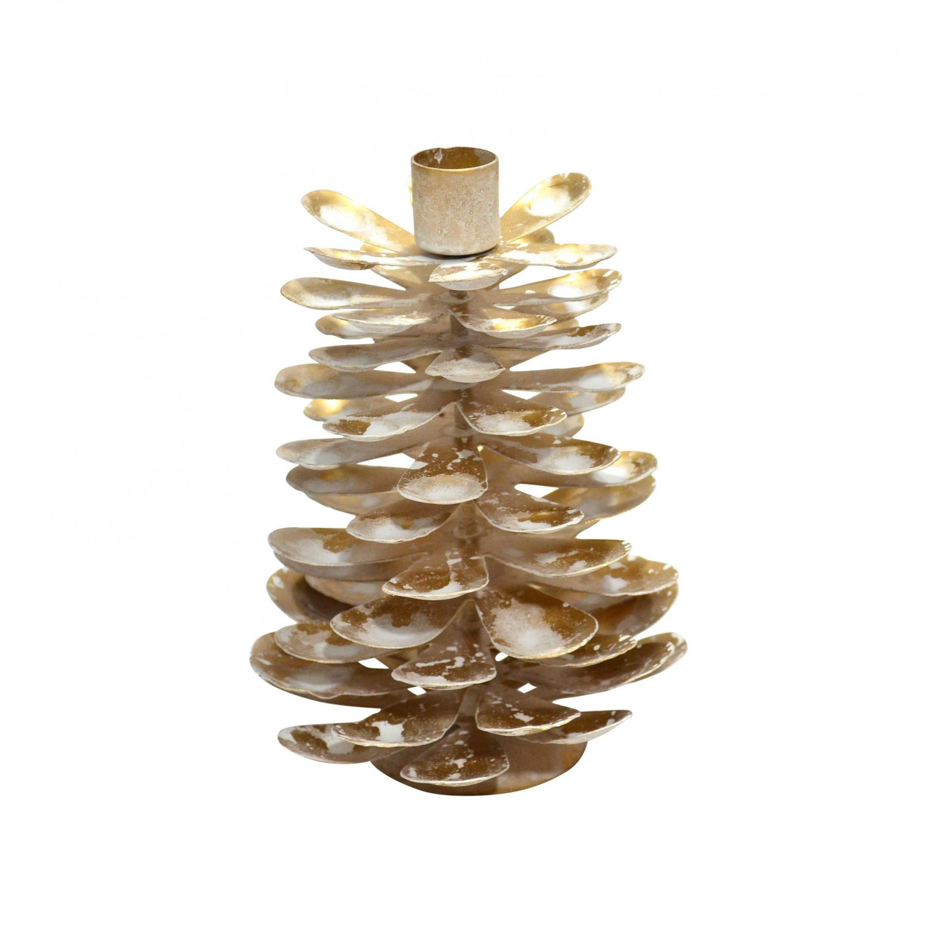 Krasilnikoff Svícen Cone Antique Gold Medium, bílá barva, zlatá barva, kov