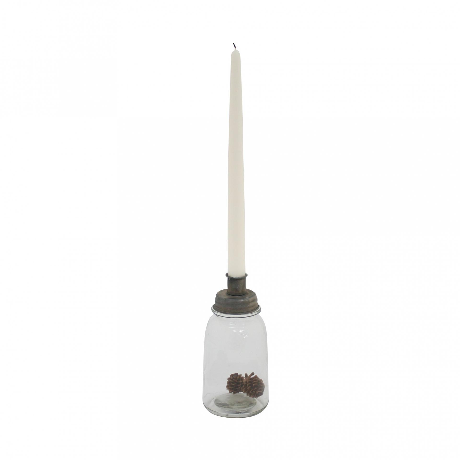 Krasilnikoff Svícen na úzkou svíčku Glass Bottle, šedá barva, čirá barva, sklo, zinek