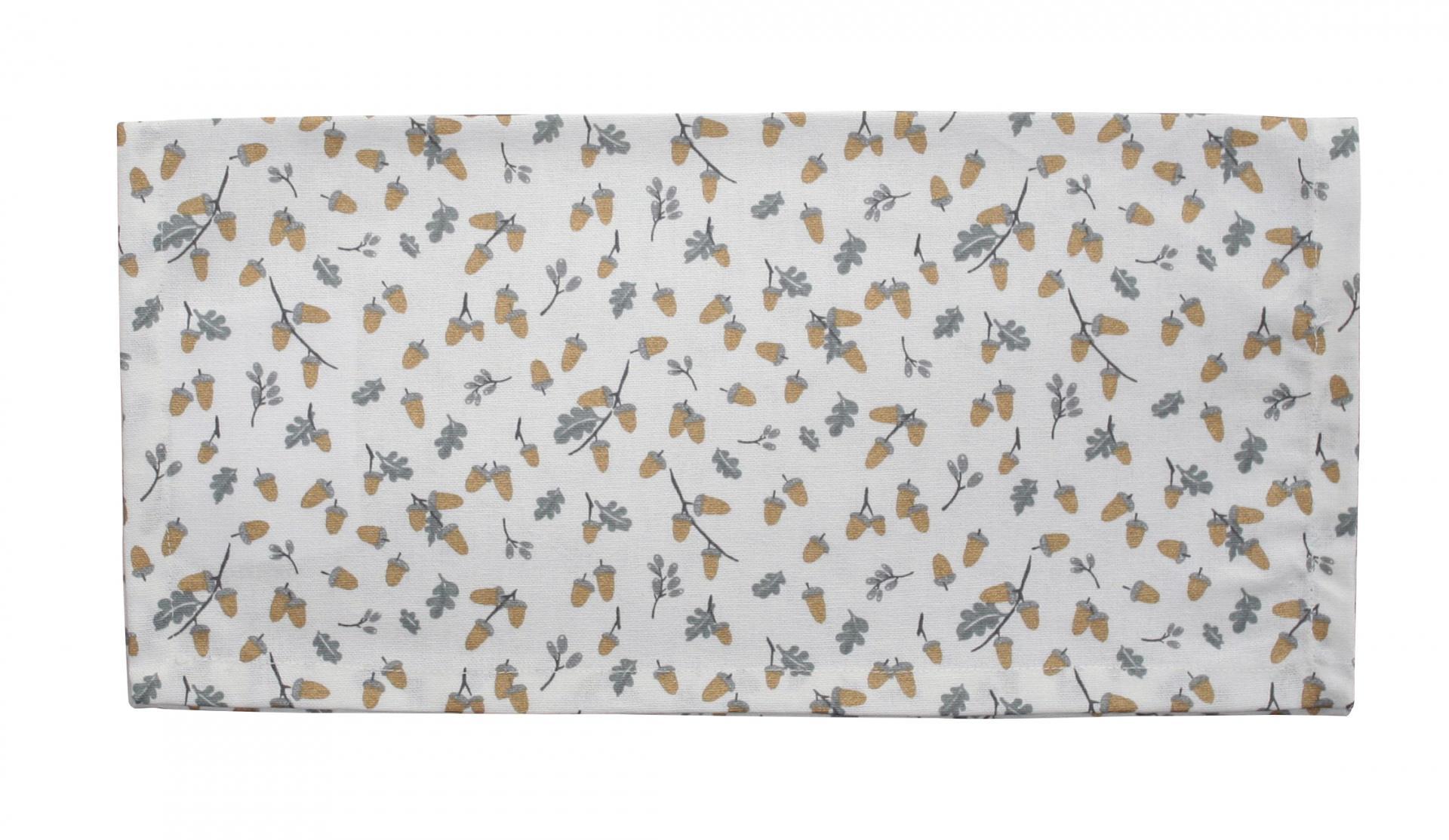 Krasilnikoff Bavlněný ubrousek Golden Acorn, šedá barva, zlatá barva, textil