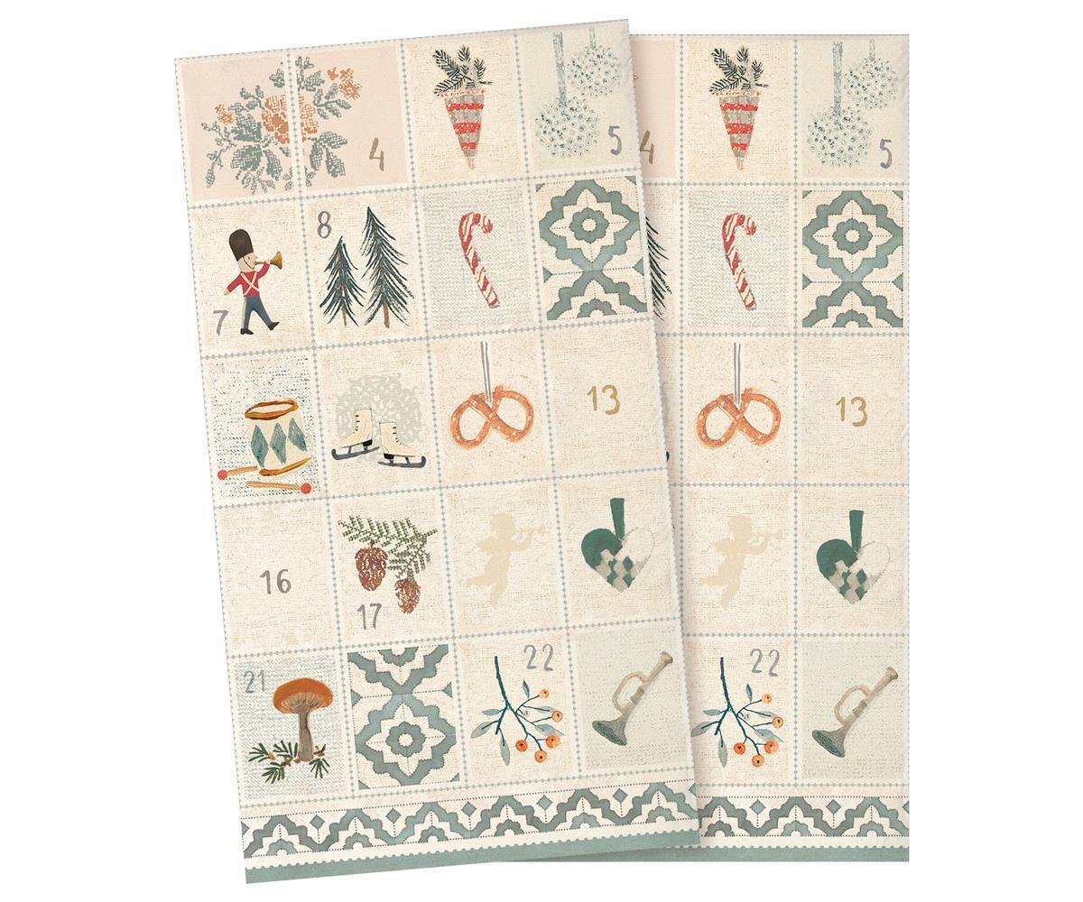 Maileg Vánoční papírové ubrousky Days of December - 16 ks, červená barva, zelená barva, krémová barva, papír