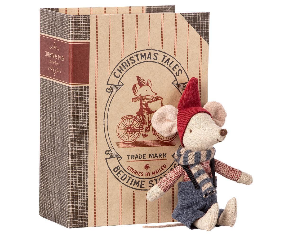 Maileg Vánoční myšák v knize Big Brother, červená barva, modrá barva, přírodní barva, papír, textil