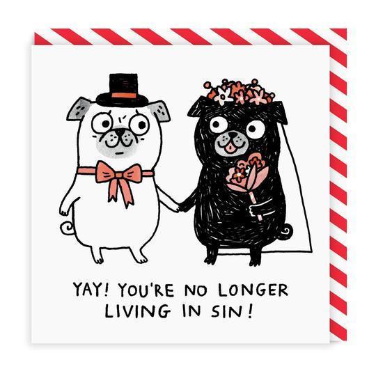 Ohh Deer Přání s obálkou Wedding Pugs, červená barva, černá barva, papír