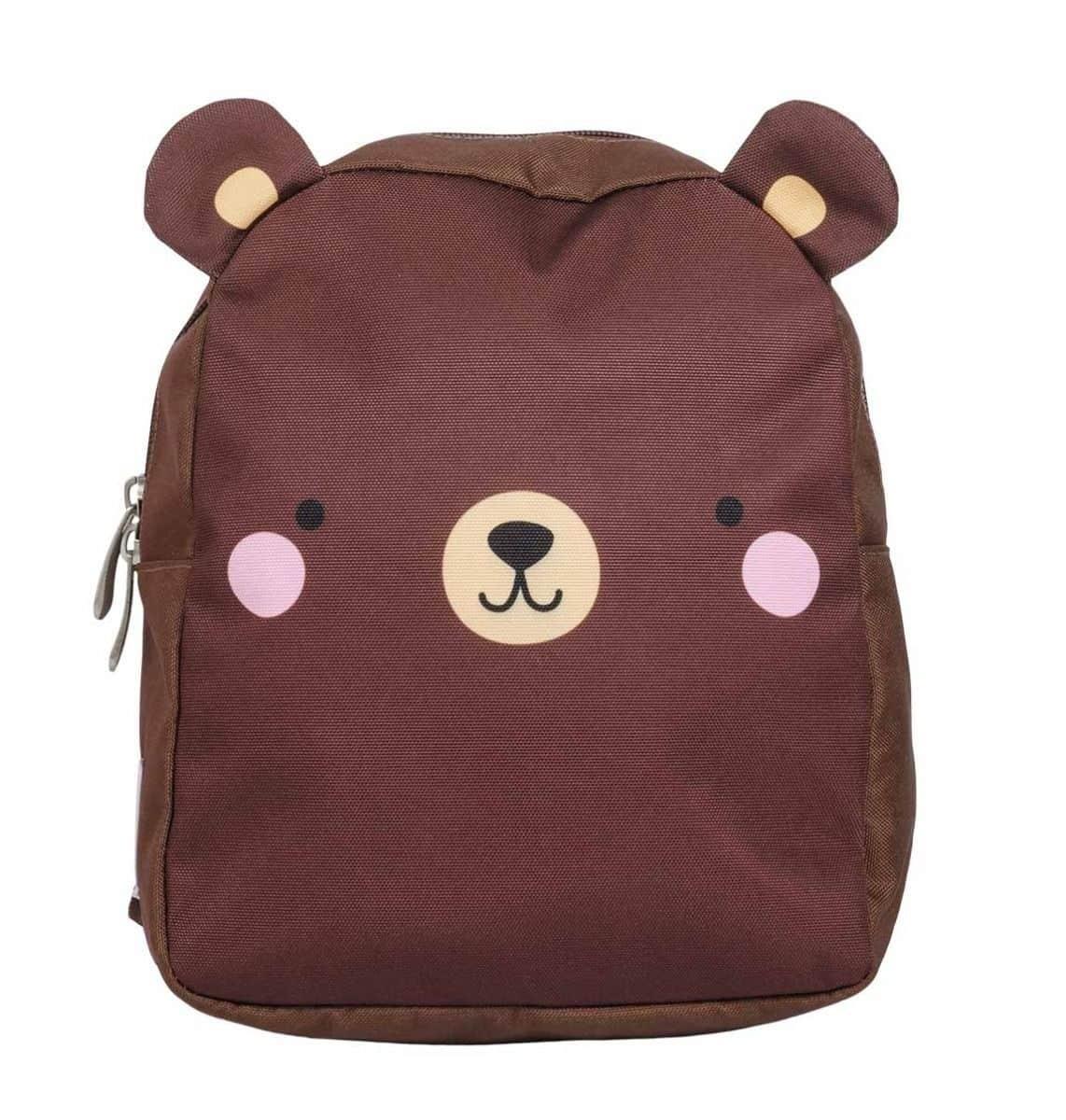 A Little Lovely Company Dětský batoh Bear, hnědá barva, textil