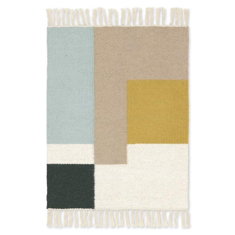 ferm LIVING Koberec Kelim Mat Squares 50 x 70 cm, multi barva