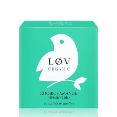 Løv Organic Almond Rooibos čaj - 20 sáčků, zelená barva, papír
