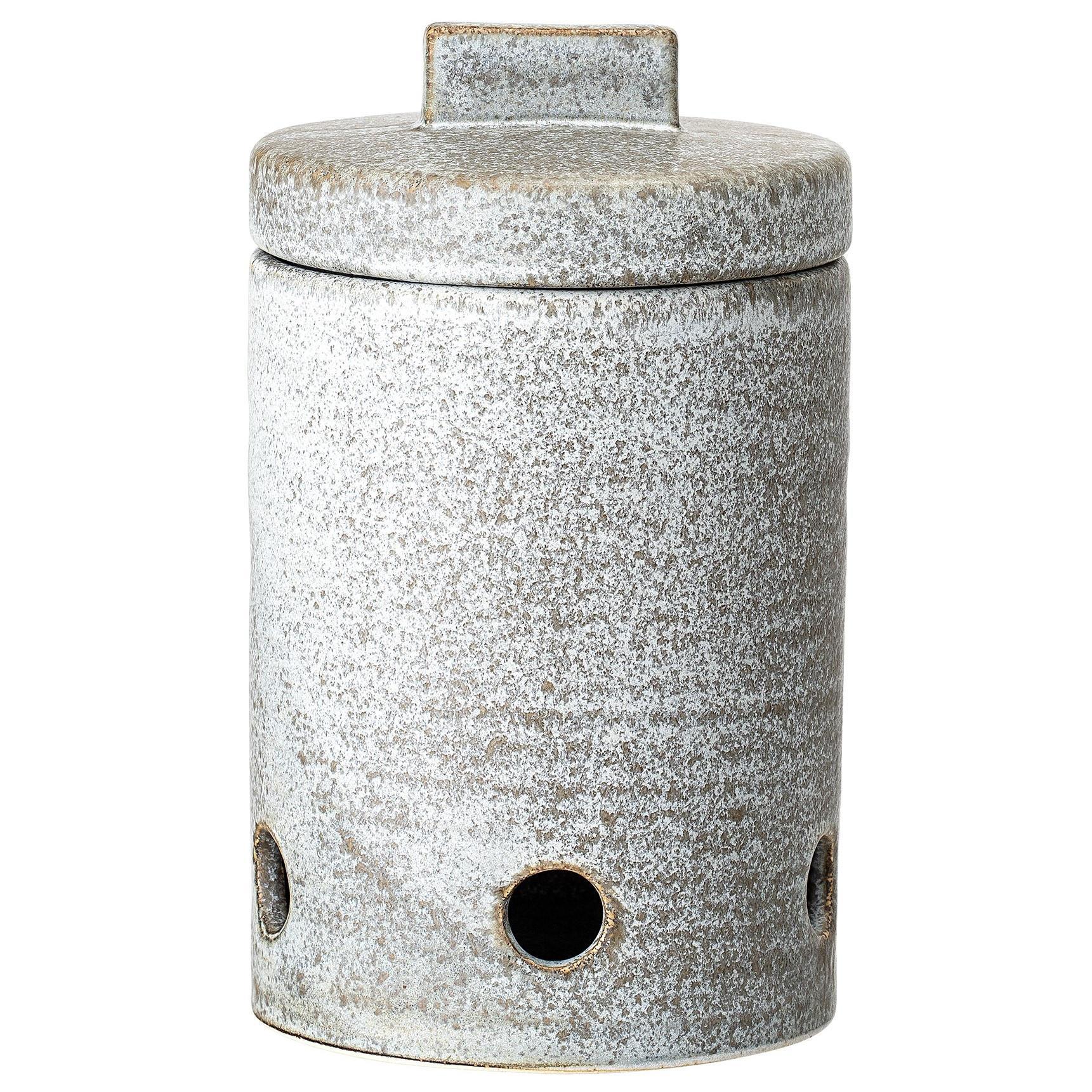 Bloomingville Keramická nádoba na česnek Kendra Garlic Jar, šedá barva, keramika