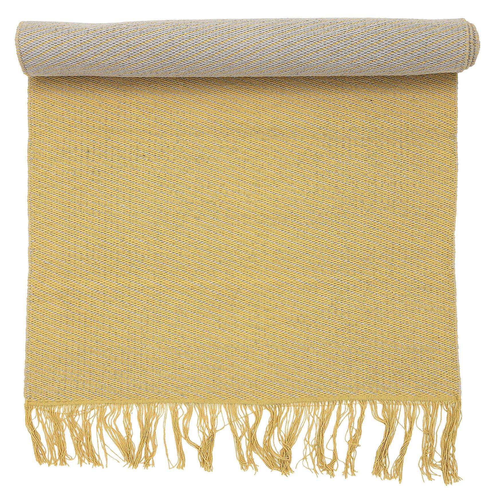 Bloomingville Bavlněný koberec Yellow Rug, žlutá barva, textil