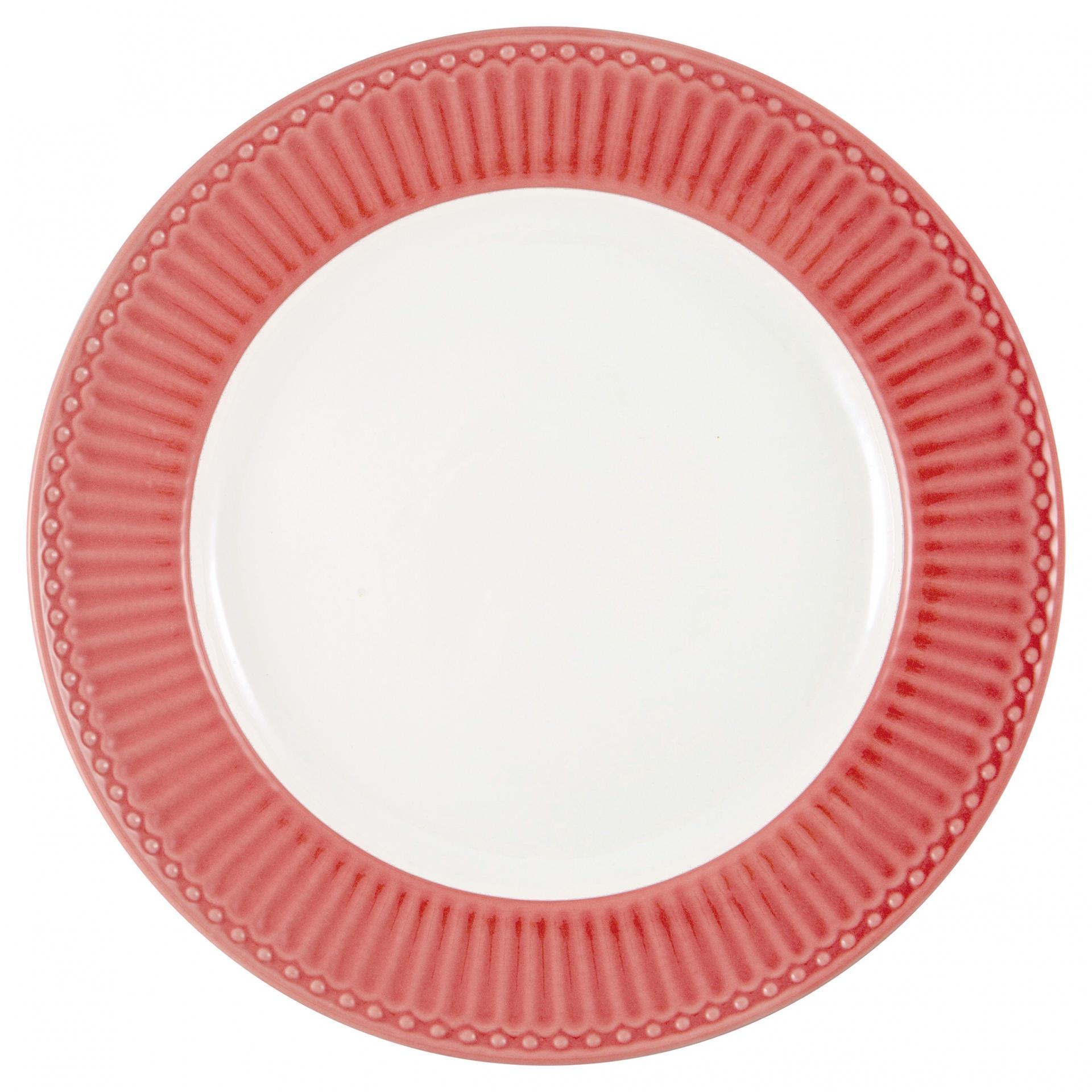 GREEN GATE Keramický talíř Alice Coral, červená barva, oranžová barva, bílá barva, keramika