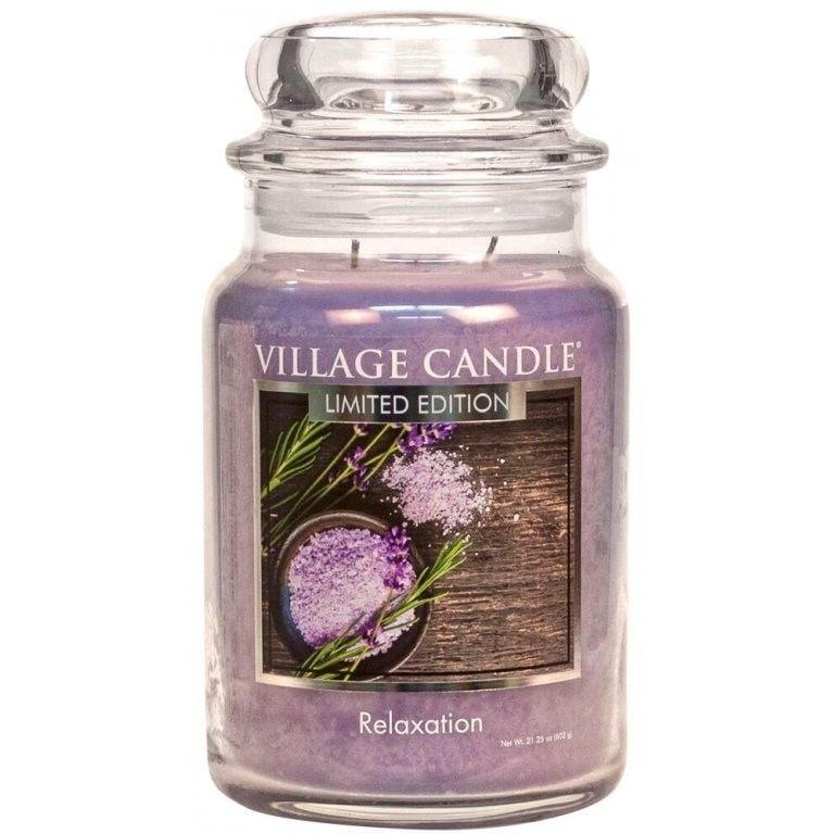 VILLAGE CANDLE Svíčka Village Candle - Relaxation 602g, fialová barva, sklo, kov
