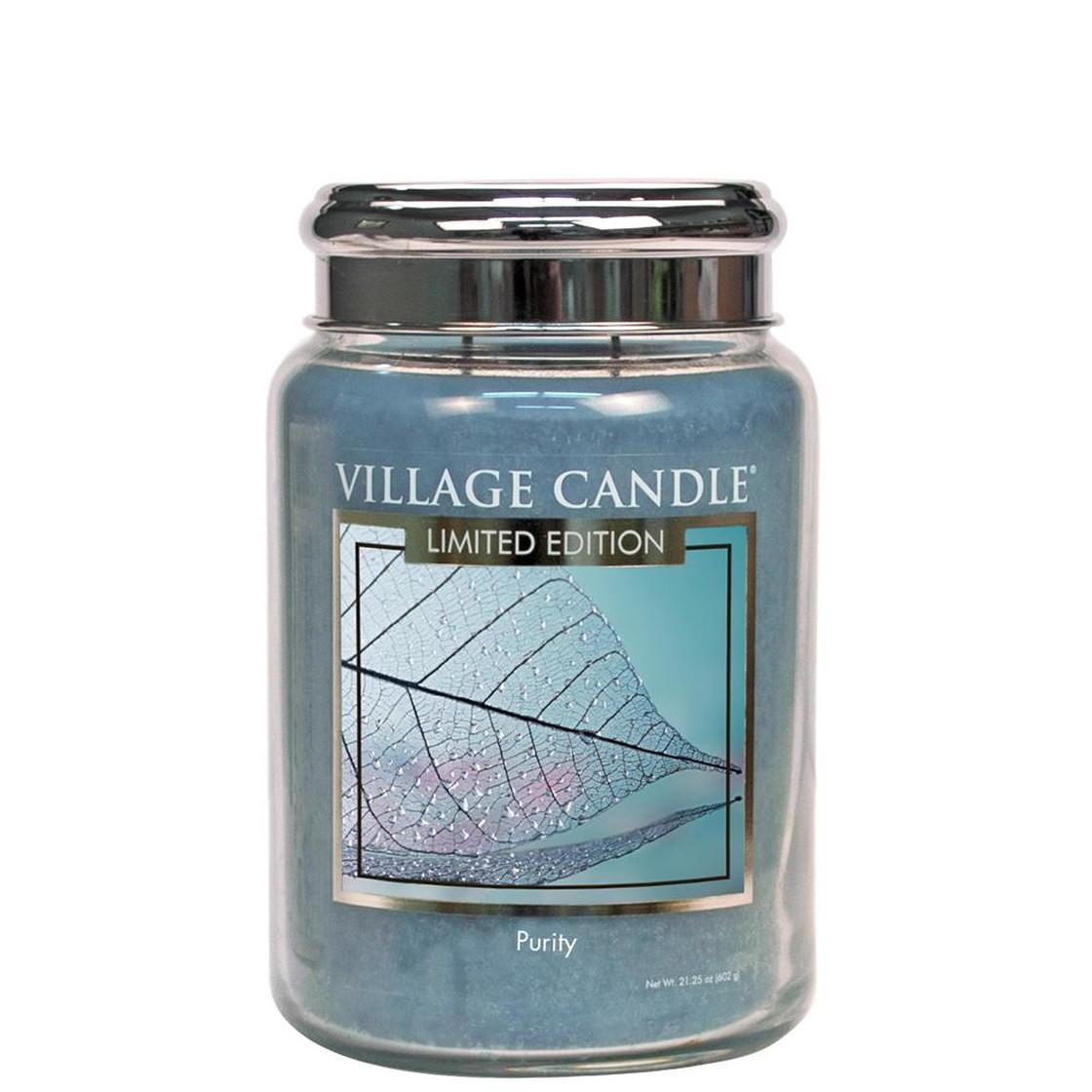 VILLAGE CANDLE Svíčka Village Candle - Purity 602g, modrá barva, sklo, kov
