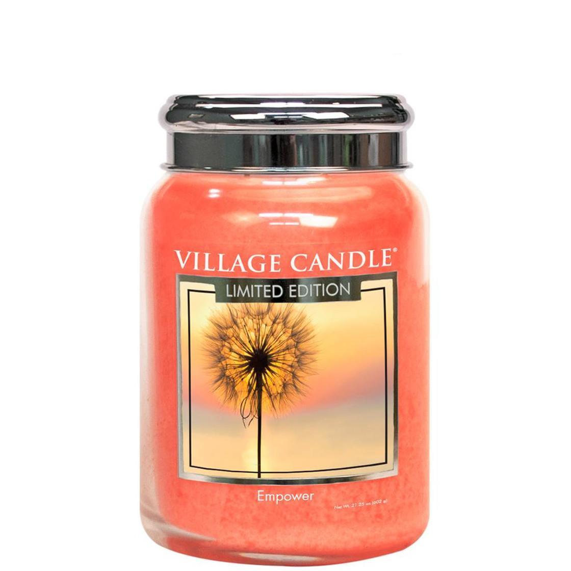 VILLAGE CANDLE Svíčka Village Candle - Empower 602g, oranžová barva, sklo, kov