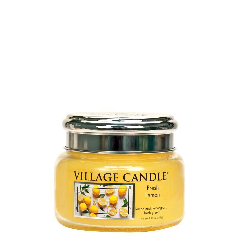 VILLAGE CANDLE Svíčka Village Candle - Fresh Lemon 262g, žlutá barva, sklo, kov