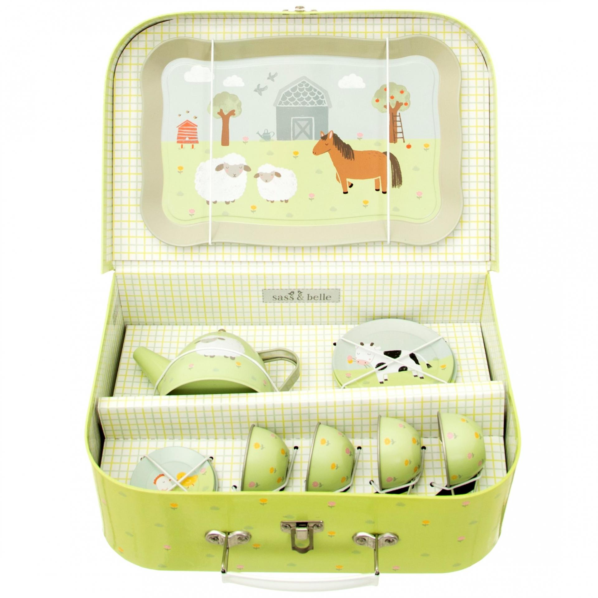 sass & belle Dětský čajový set Farmyard Friends, zelená barva, kov, papír
