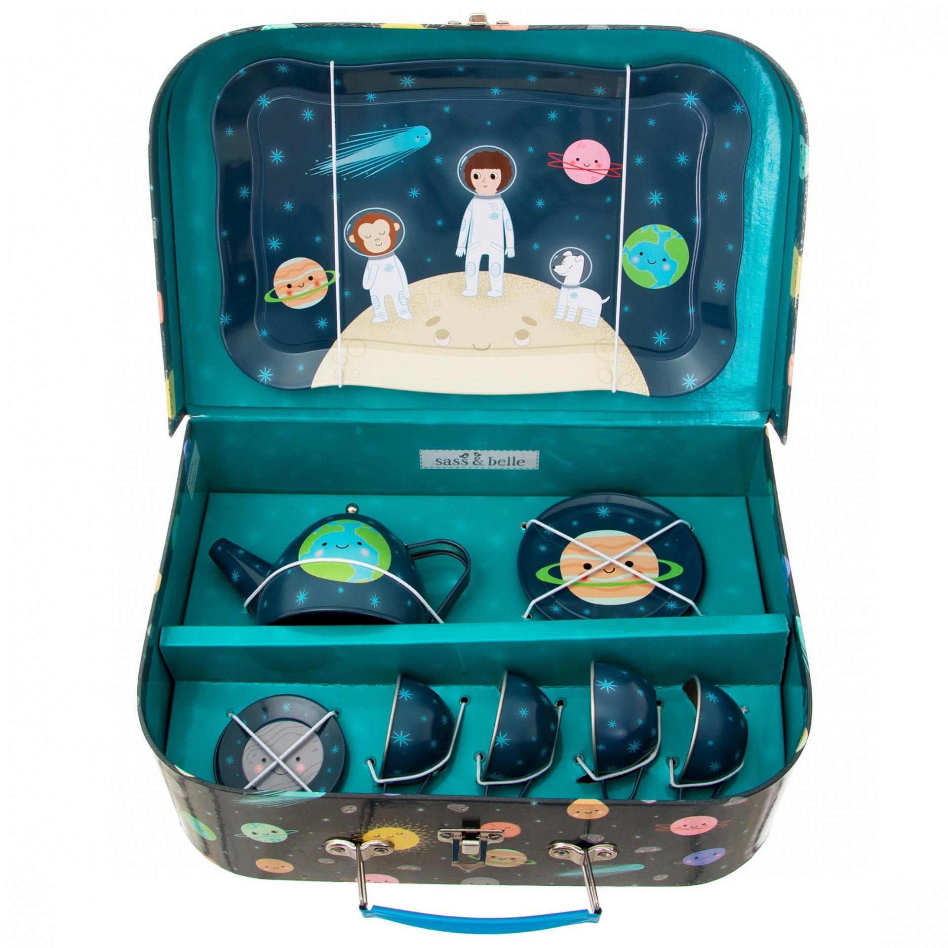 sass & belle Dětský čajový set Space Explorer, modrá barva, kov, papír
