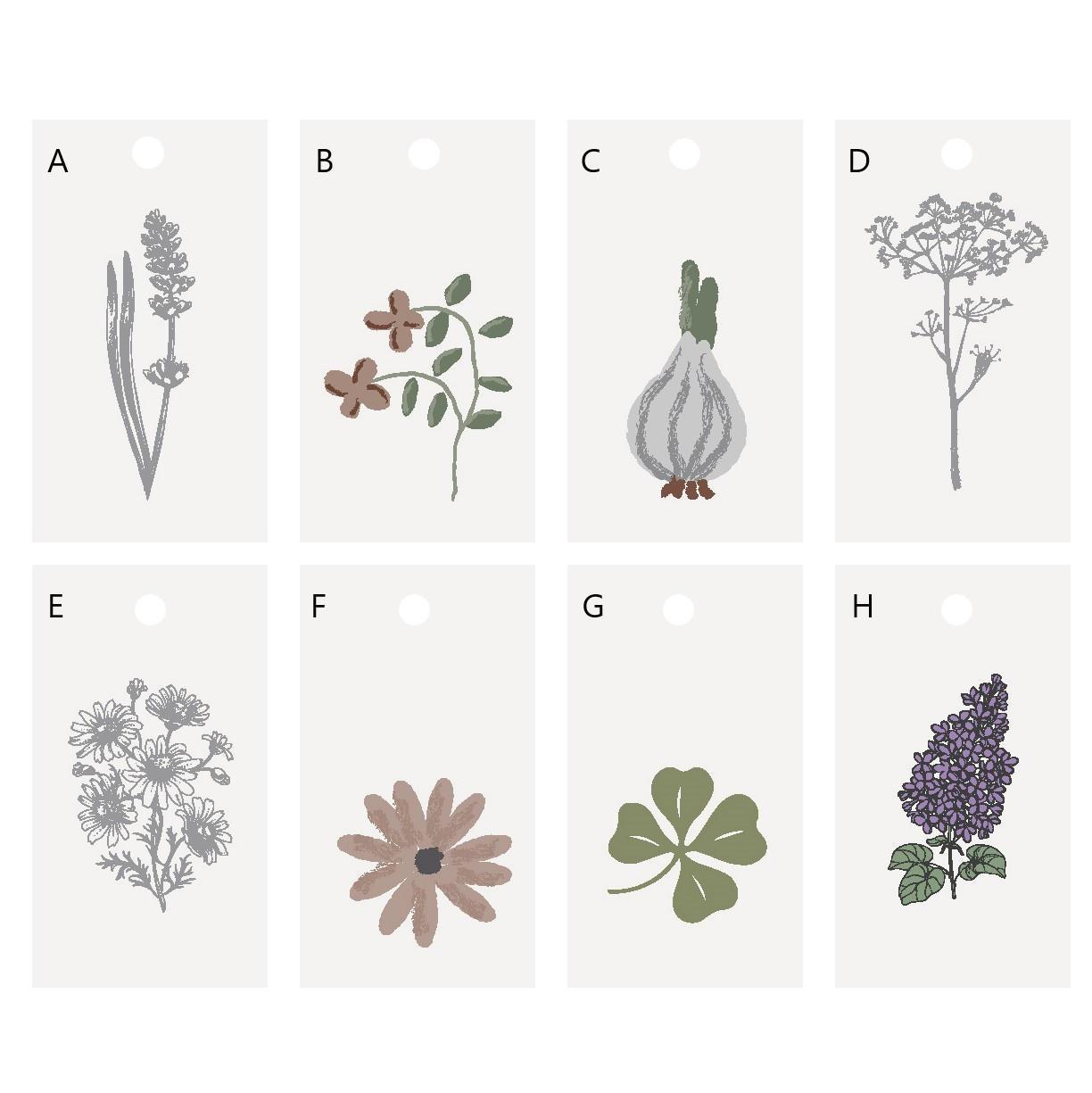 IB LAURSEN Dárkový štítek Flower/Clover Motives Varianta A, multi barva, papír