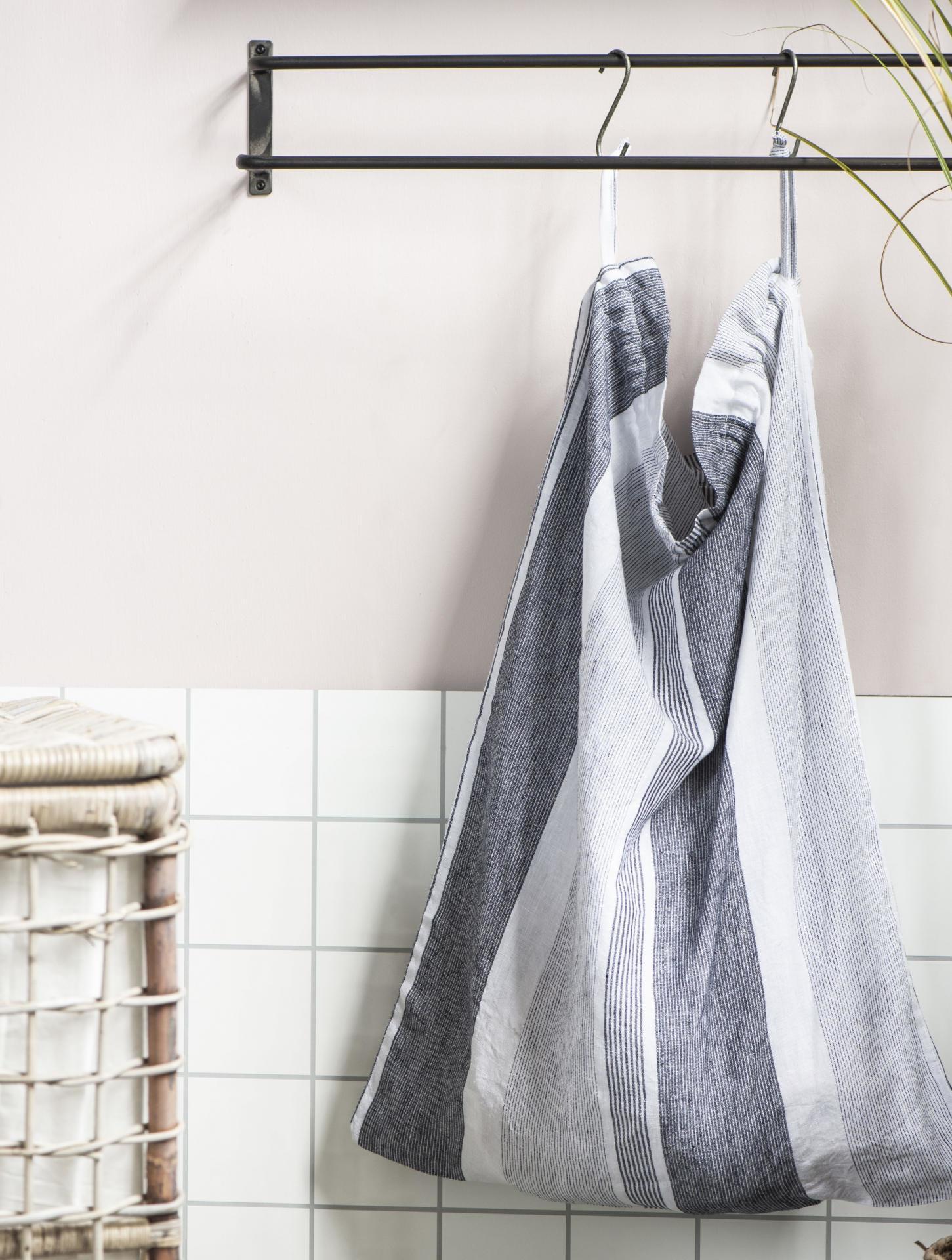 IB LAURSEN Textilní pytel na špinavé prádlo Grey Stripes, šedá barva, textil