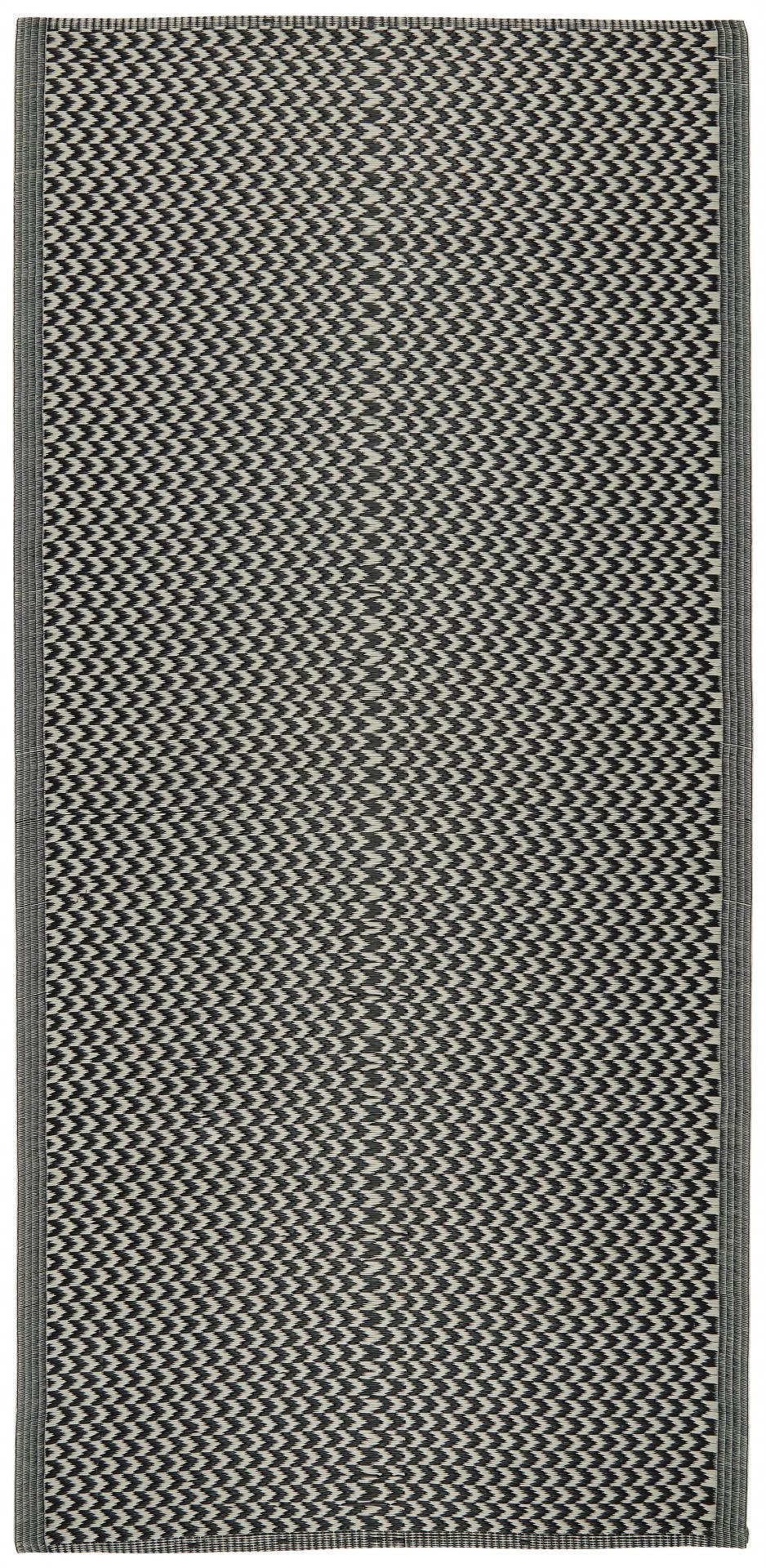 IB LAURSEN Plastový koberec Recycled Black&White 90x180 cm, černá barva, bílá barva, plast