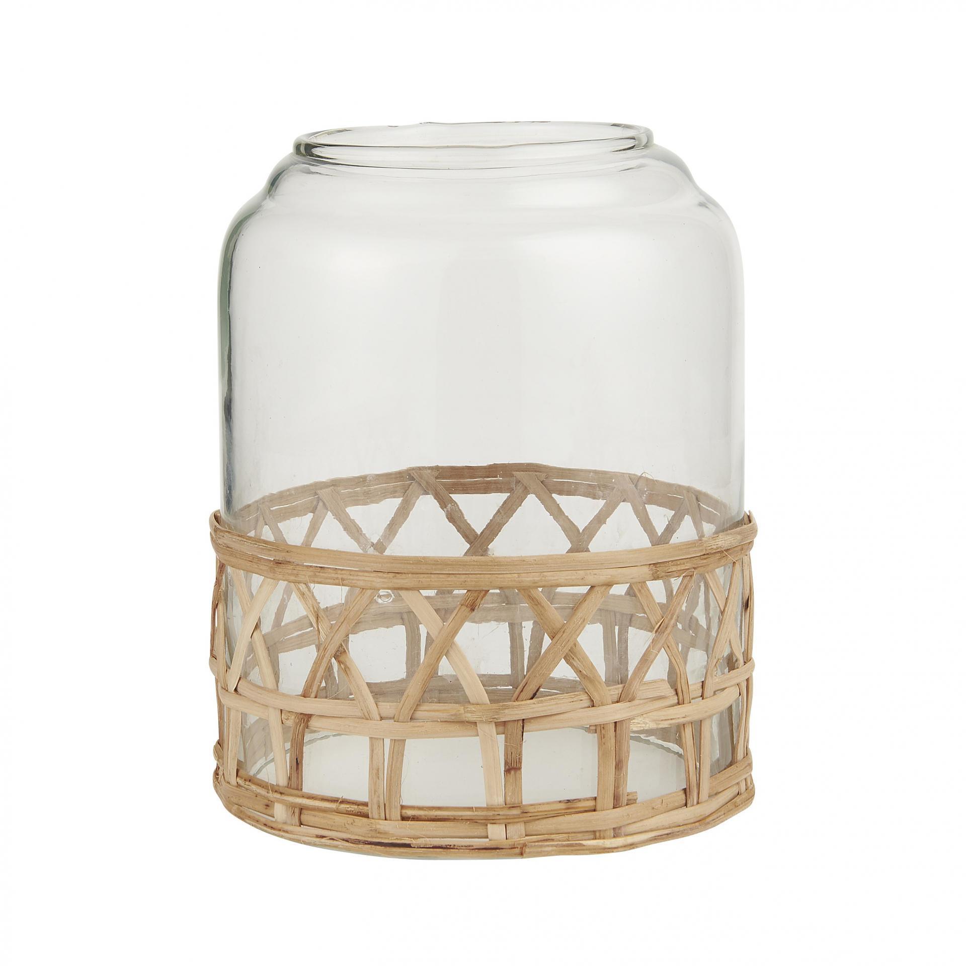 IB LAURSEN Skleněný poklop Bamboo Braid, čirá barva, přírodní barva, sklo, dřevo